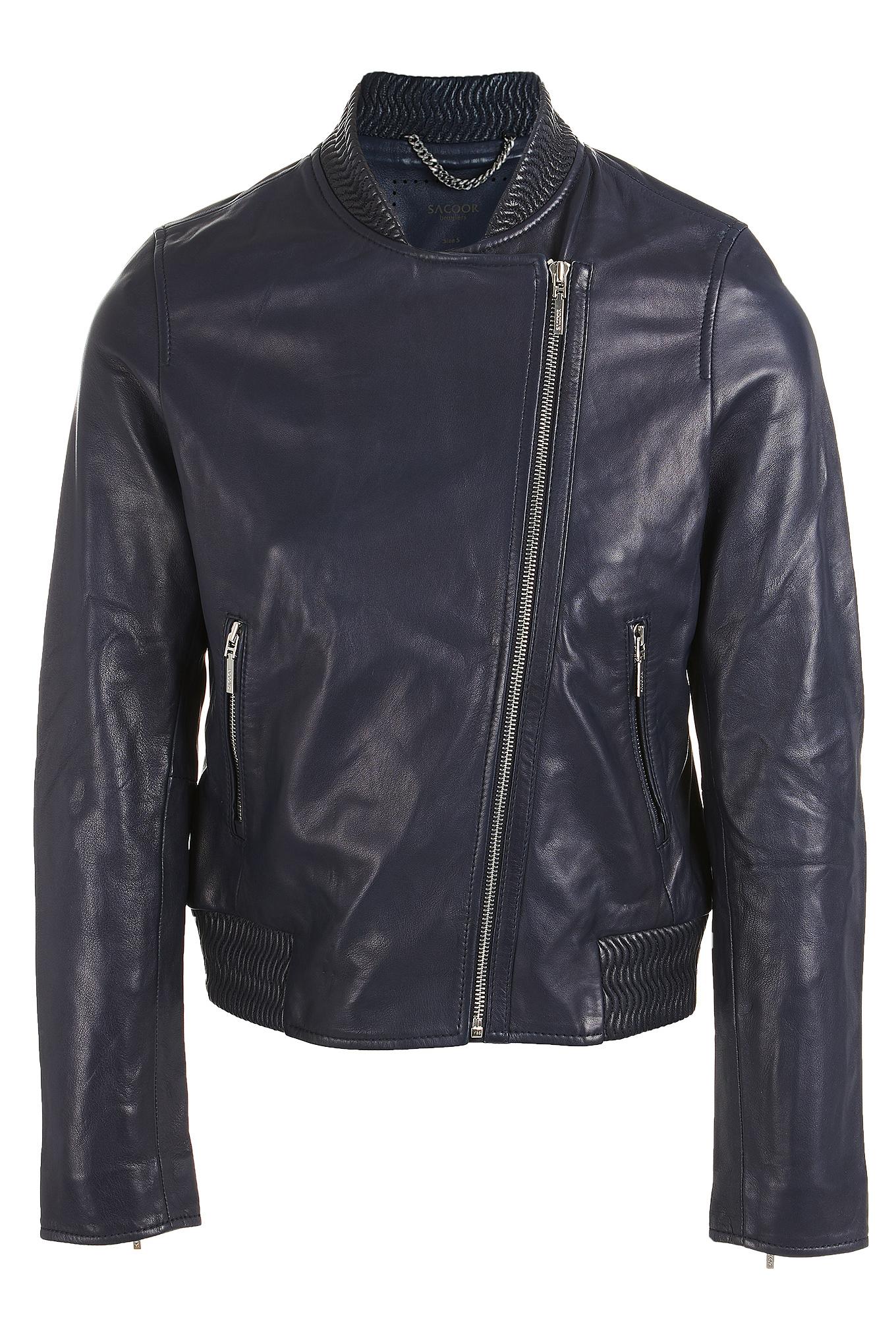 Leather Jacket Dark Blue Sport Woman