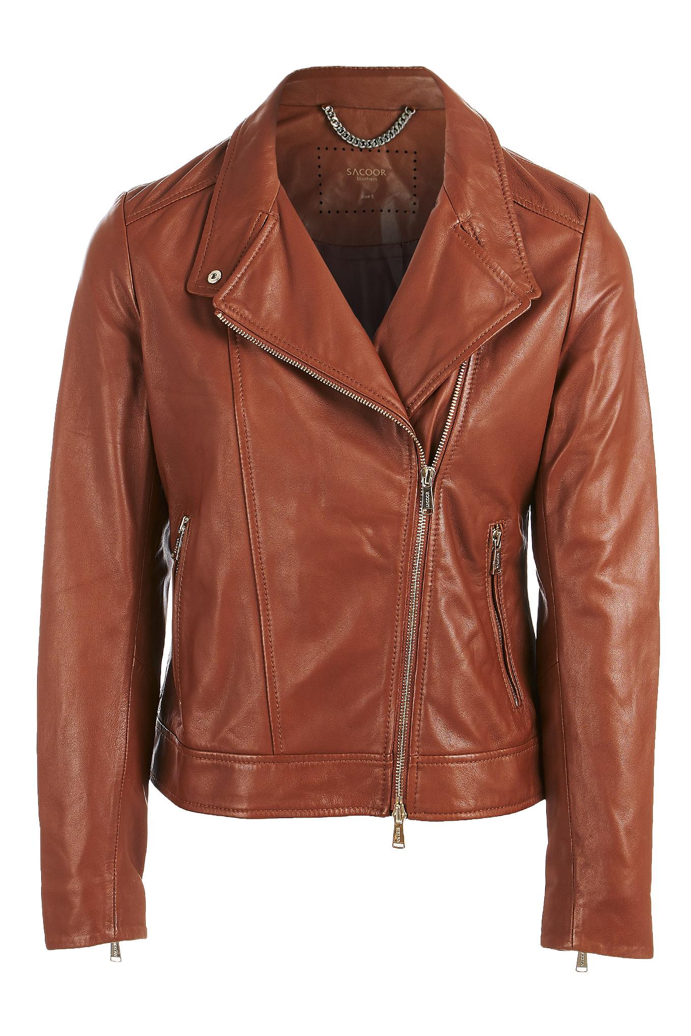 Leather Jacket Cognac Sport Woman