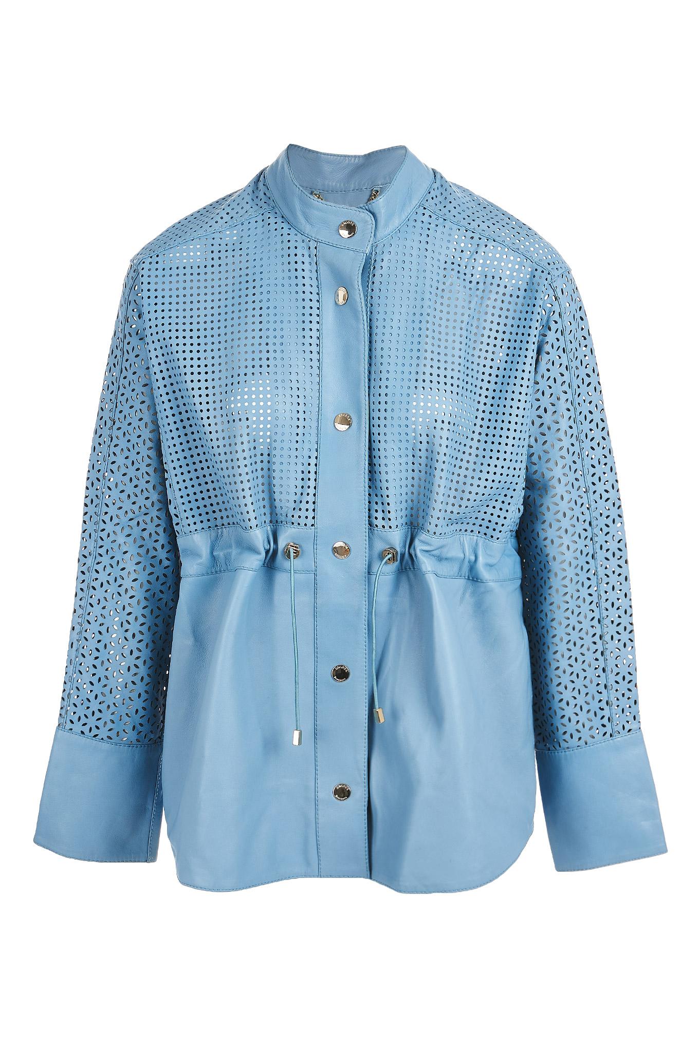Leather Jacket Light Blue Sport Woman