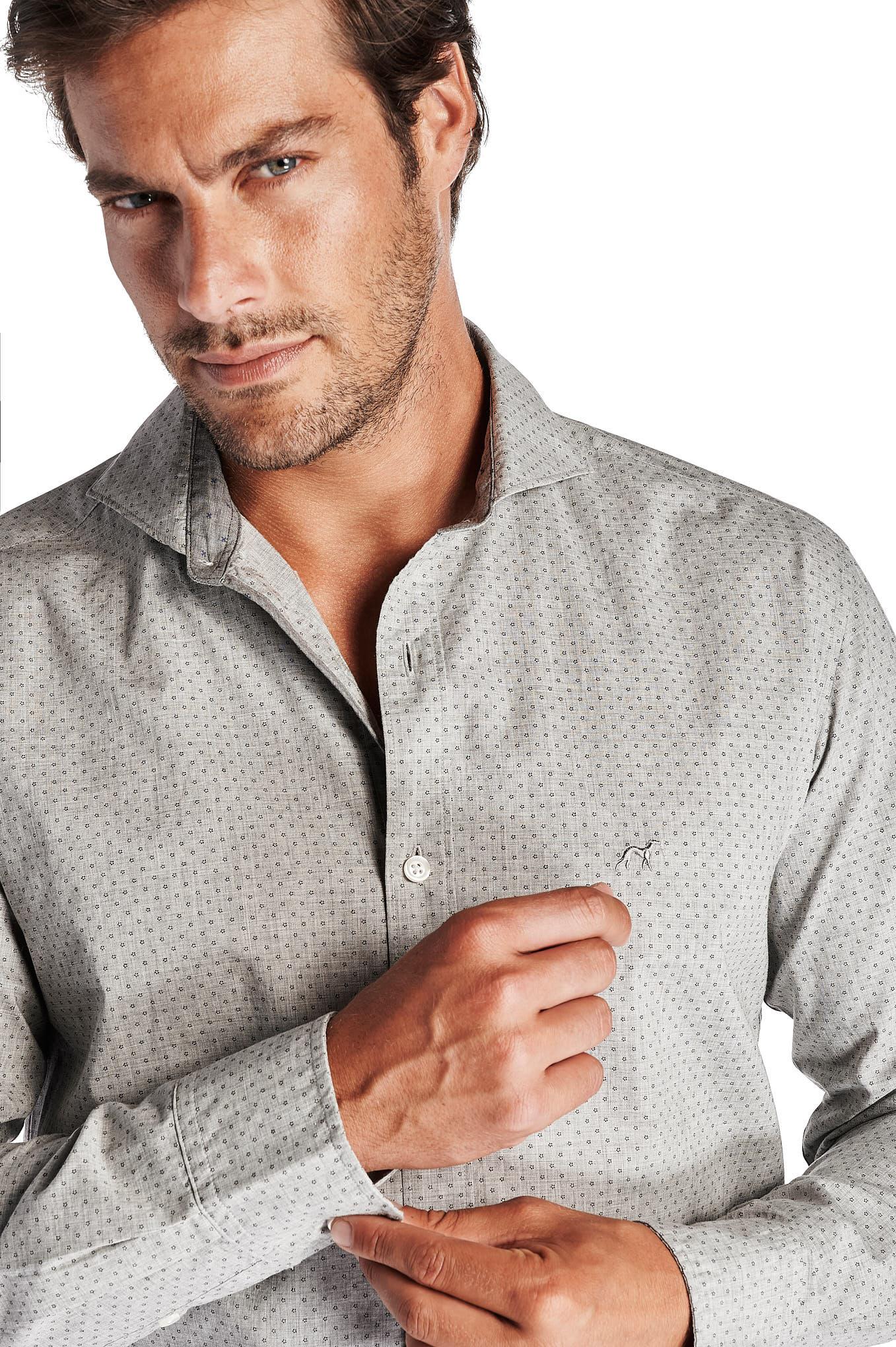 Camisa Cinza Claro Casual Homem