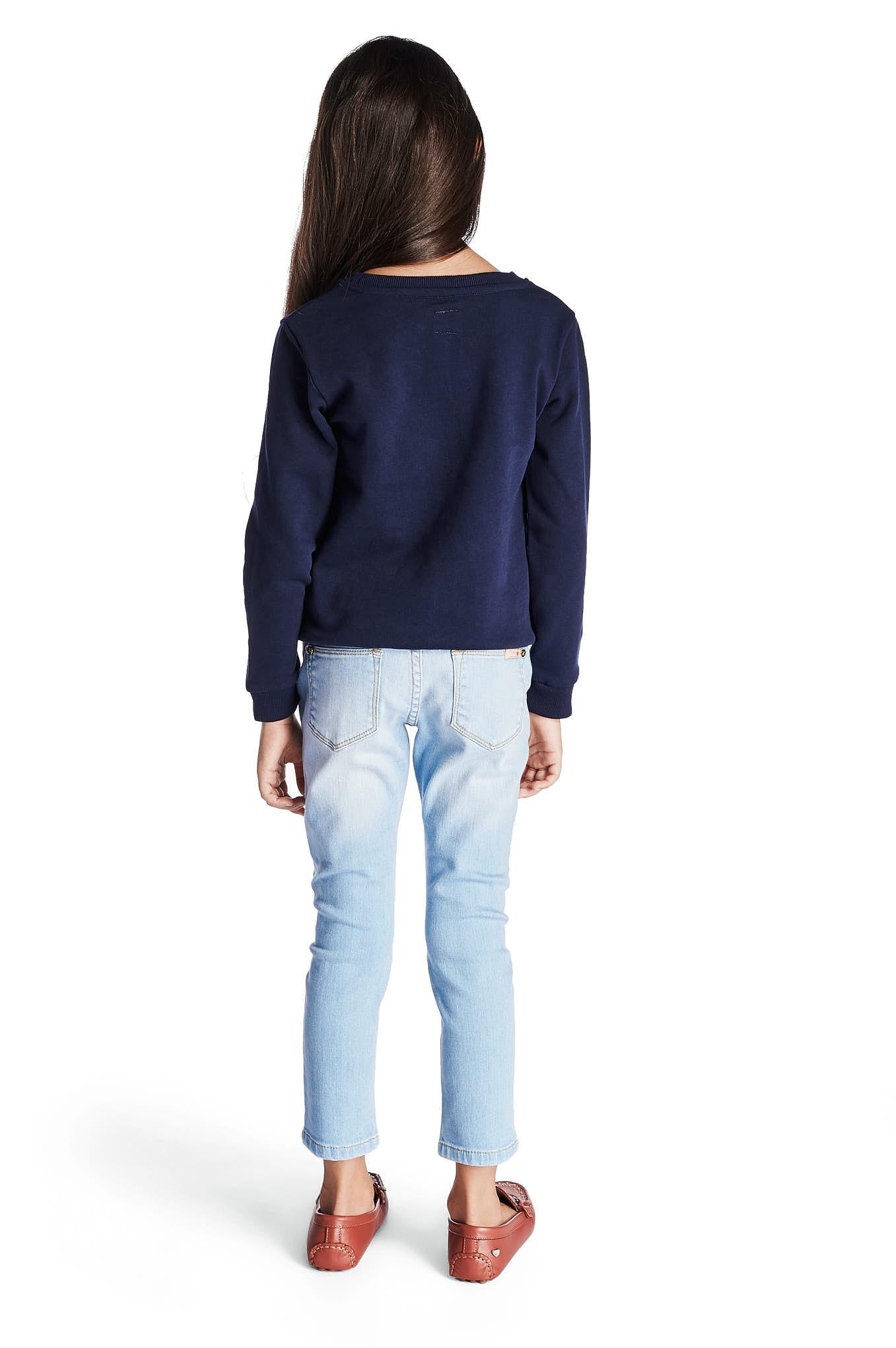 Sweatshirt Azul Escuro Casual Rapariga