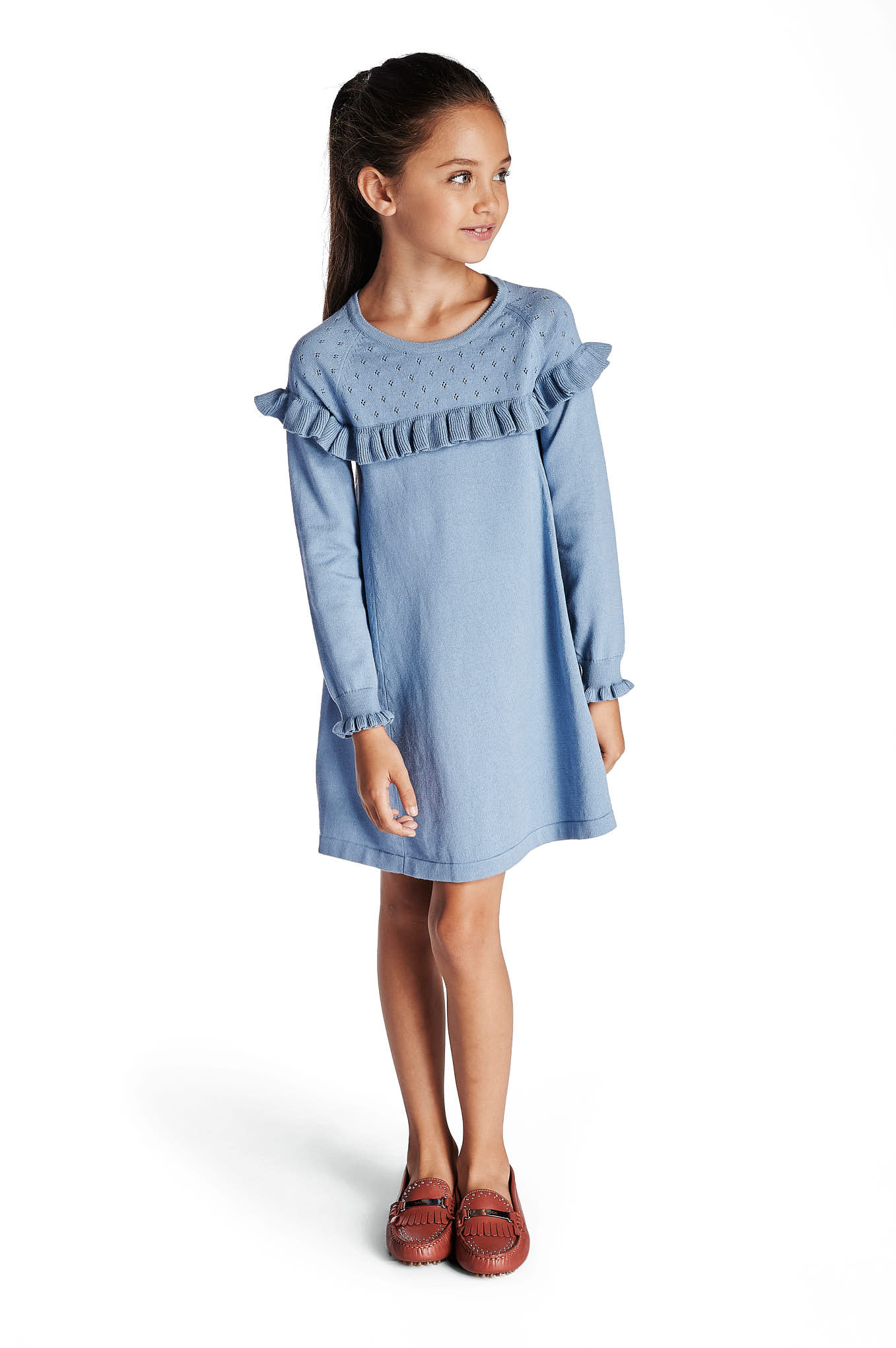 Knitwear Dress Light Blue Casual Girl
