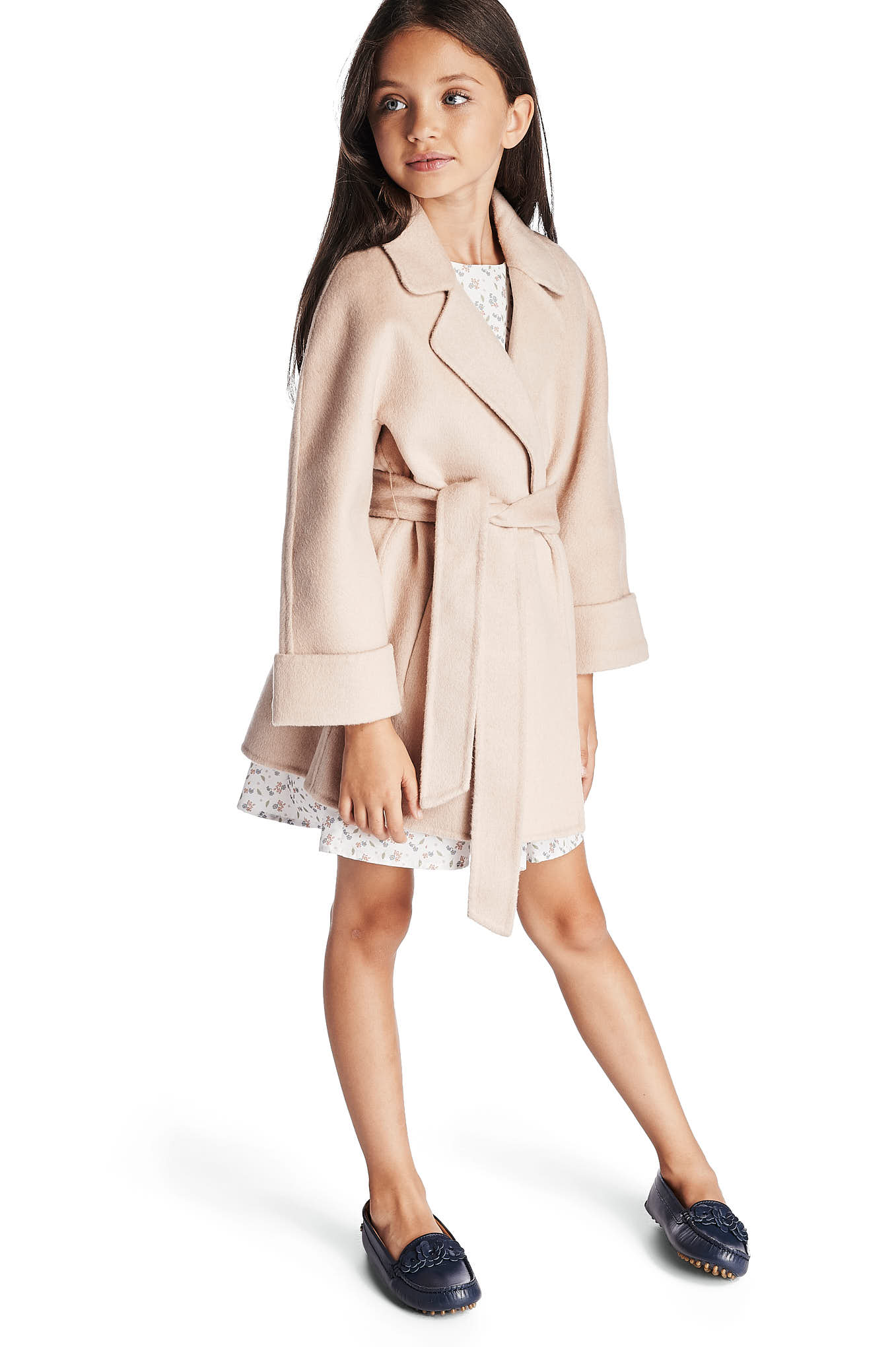 Overcoat Beige Casual Girl