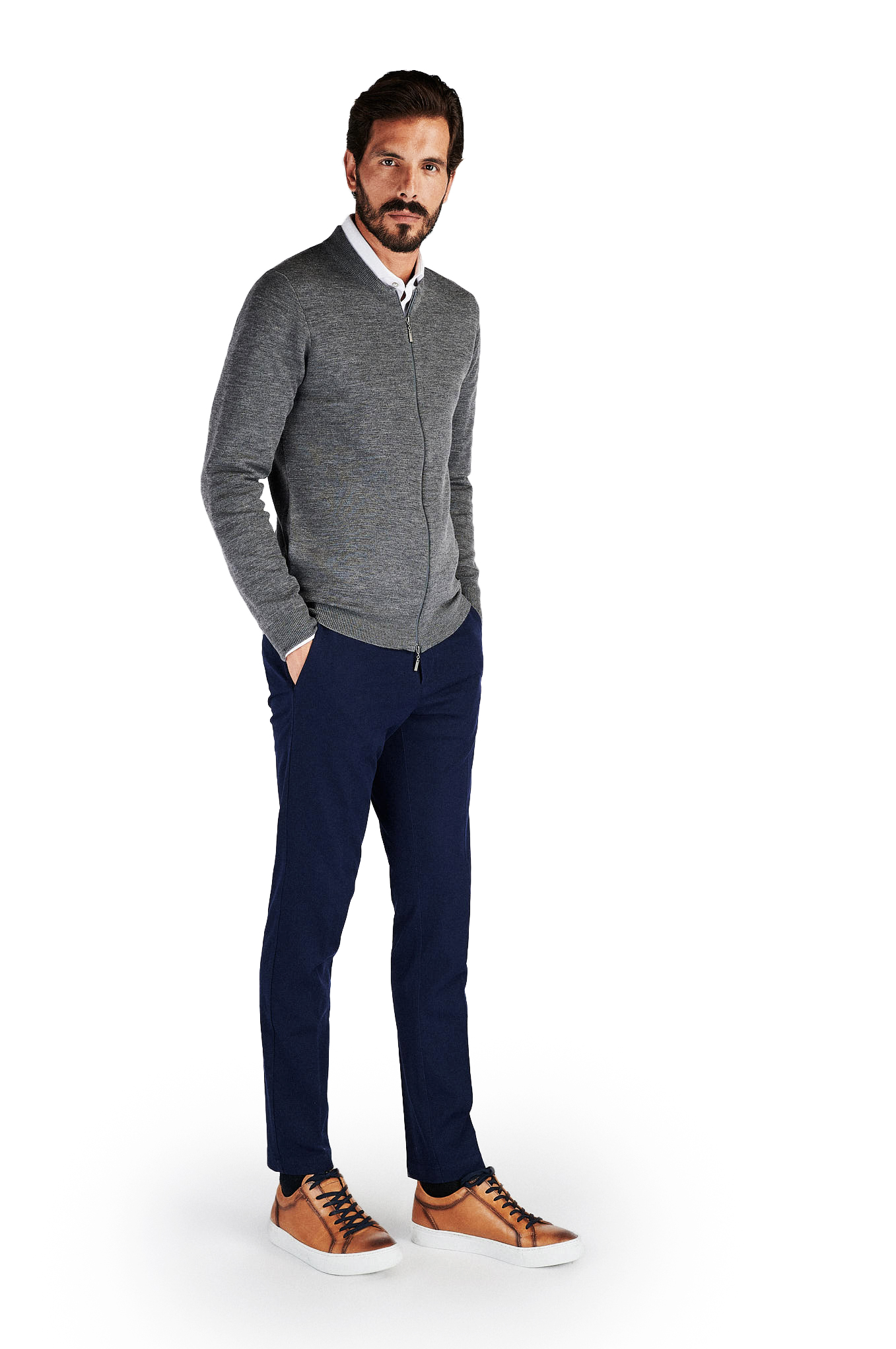 Cardigan Mix Grey Casual Man