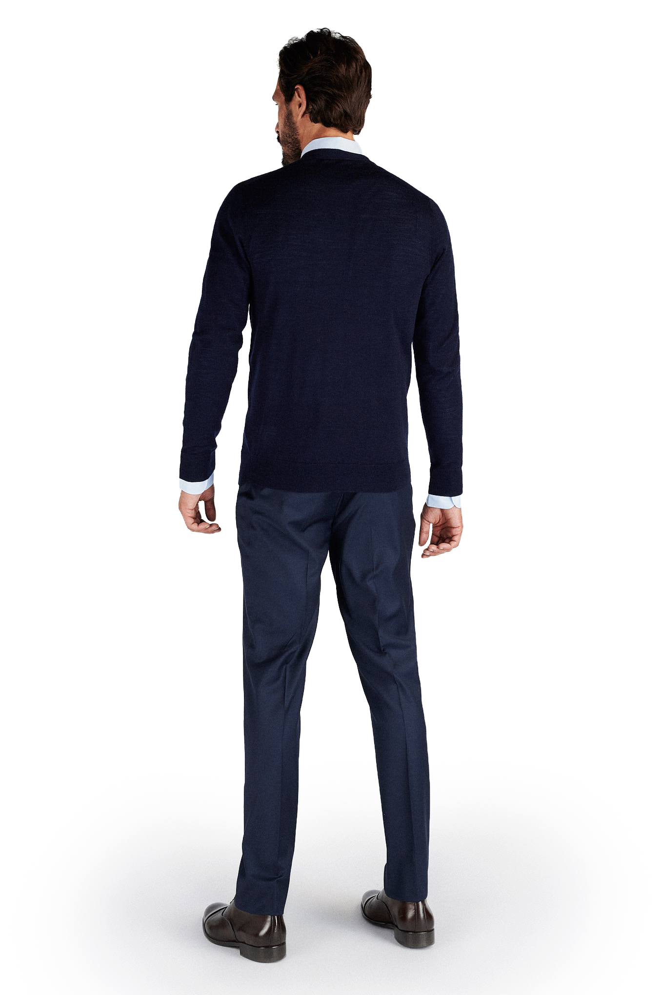 Cardigan Azul Escuro Casual Homem