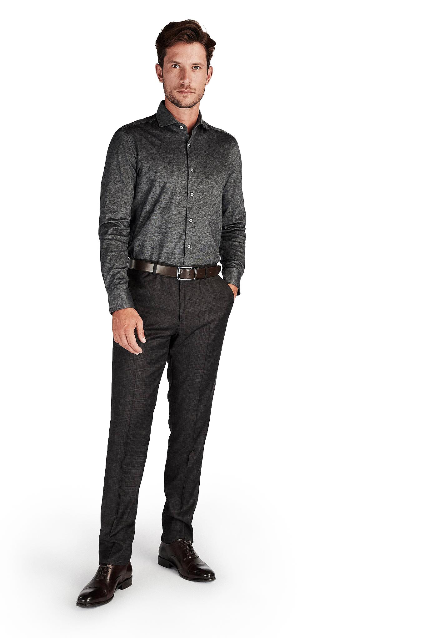 Camisa Cinzento Escuro Casual Homem