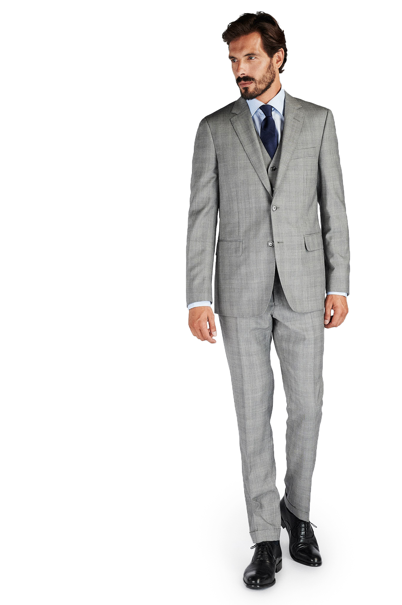 Suit with Vest Light Grey Classic Man