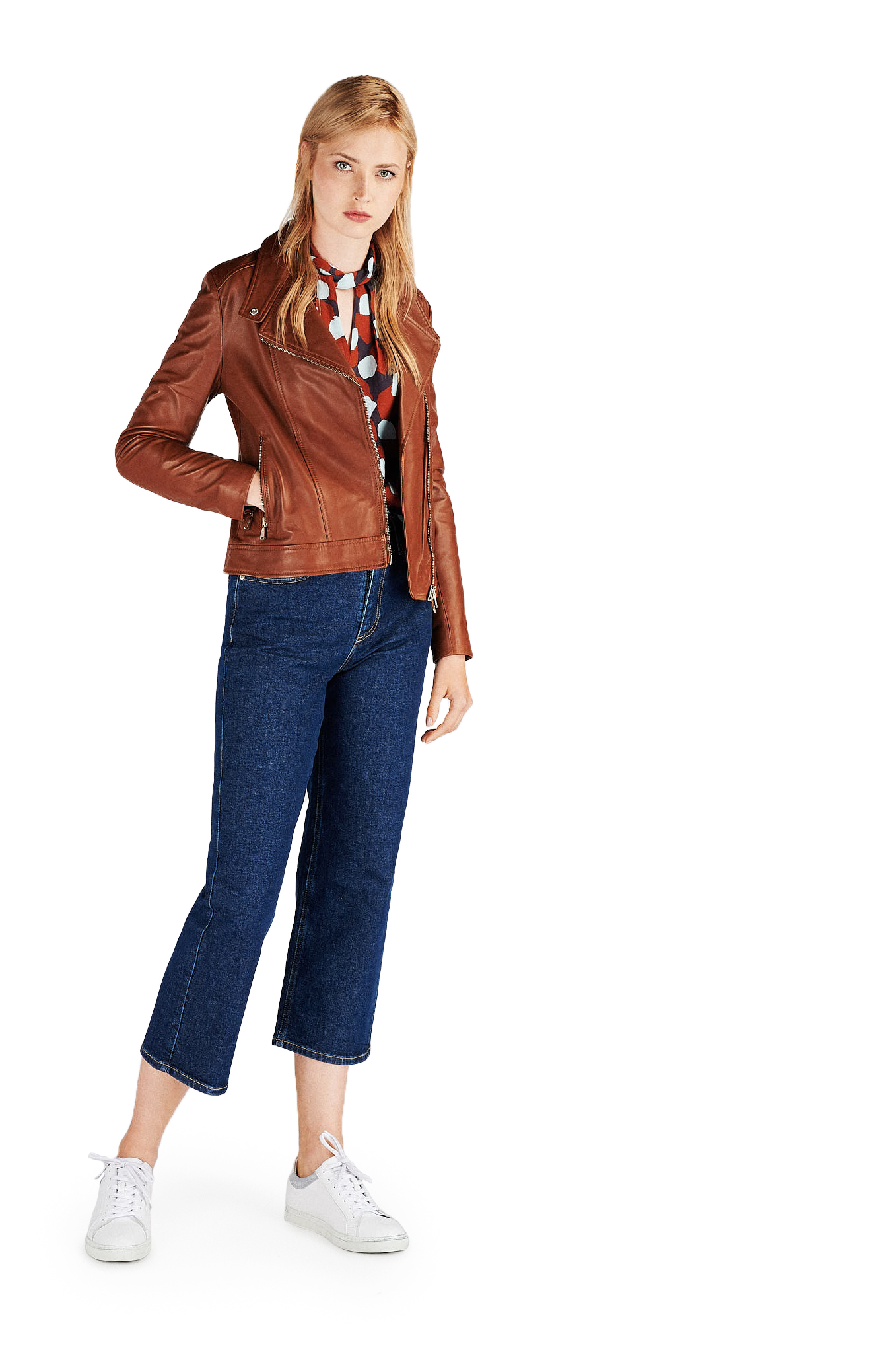 Leather Jacket Cognac Sport Woman
