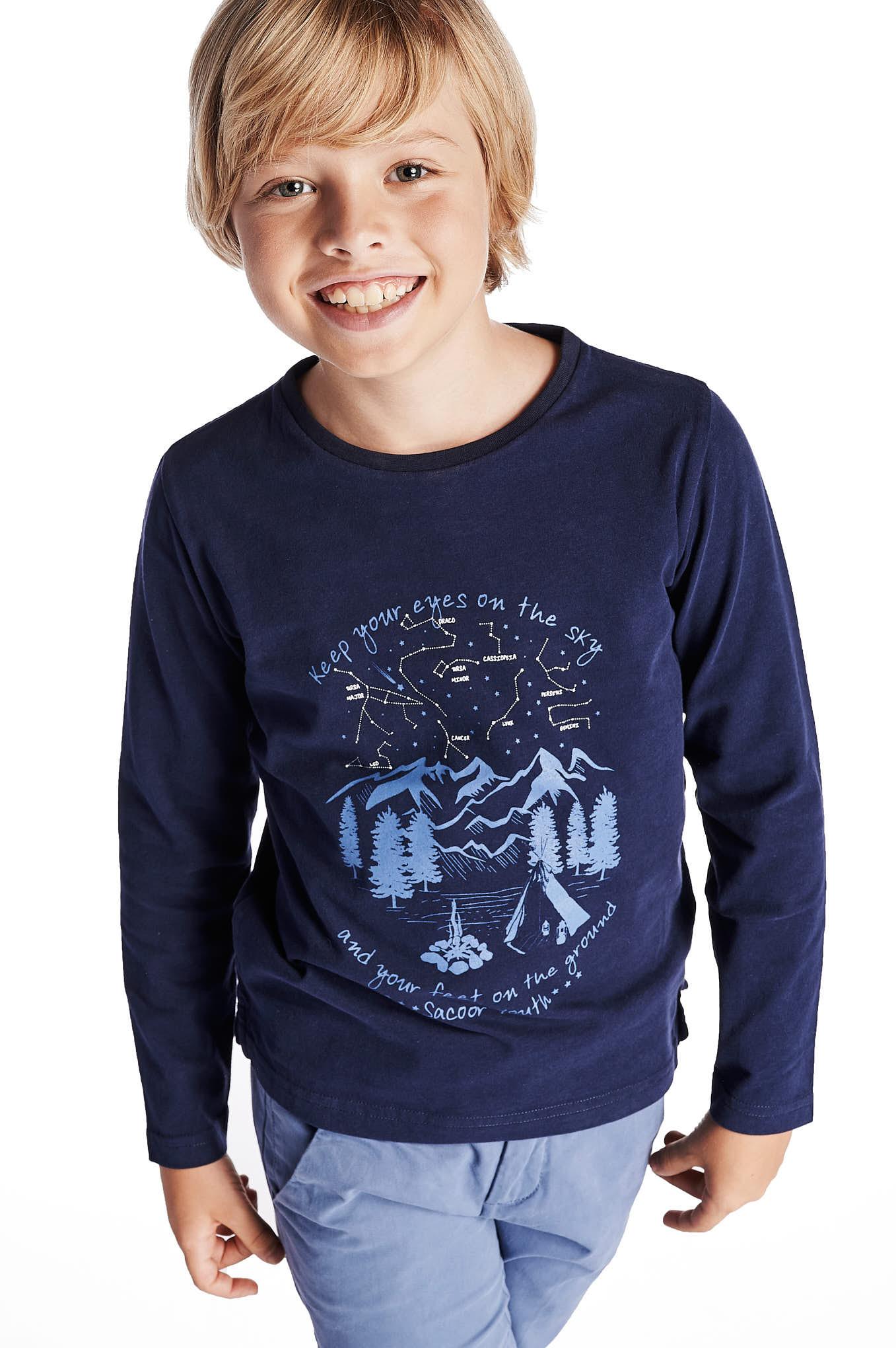 Long Sleeve T-Shirt Dark Blue Sport Boy