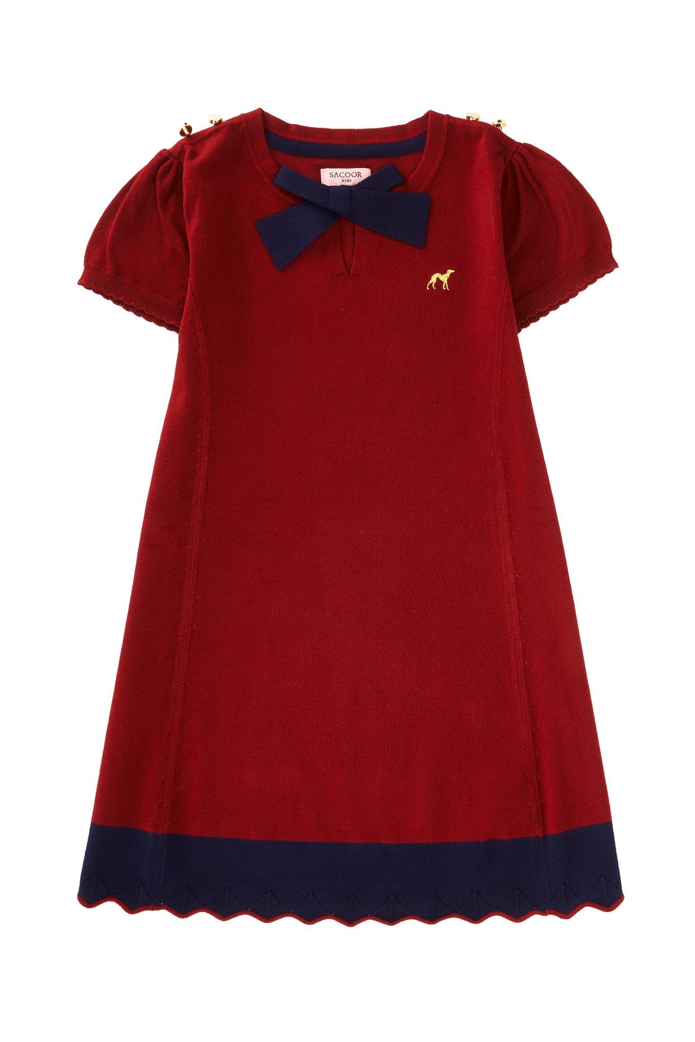Vestido Malha Vermelho Casual Rapariga