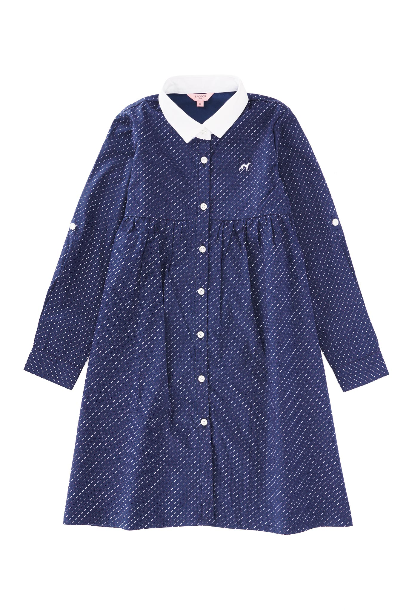 Shirt Dress Dark Blue Casual Girl