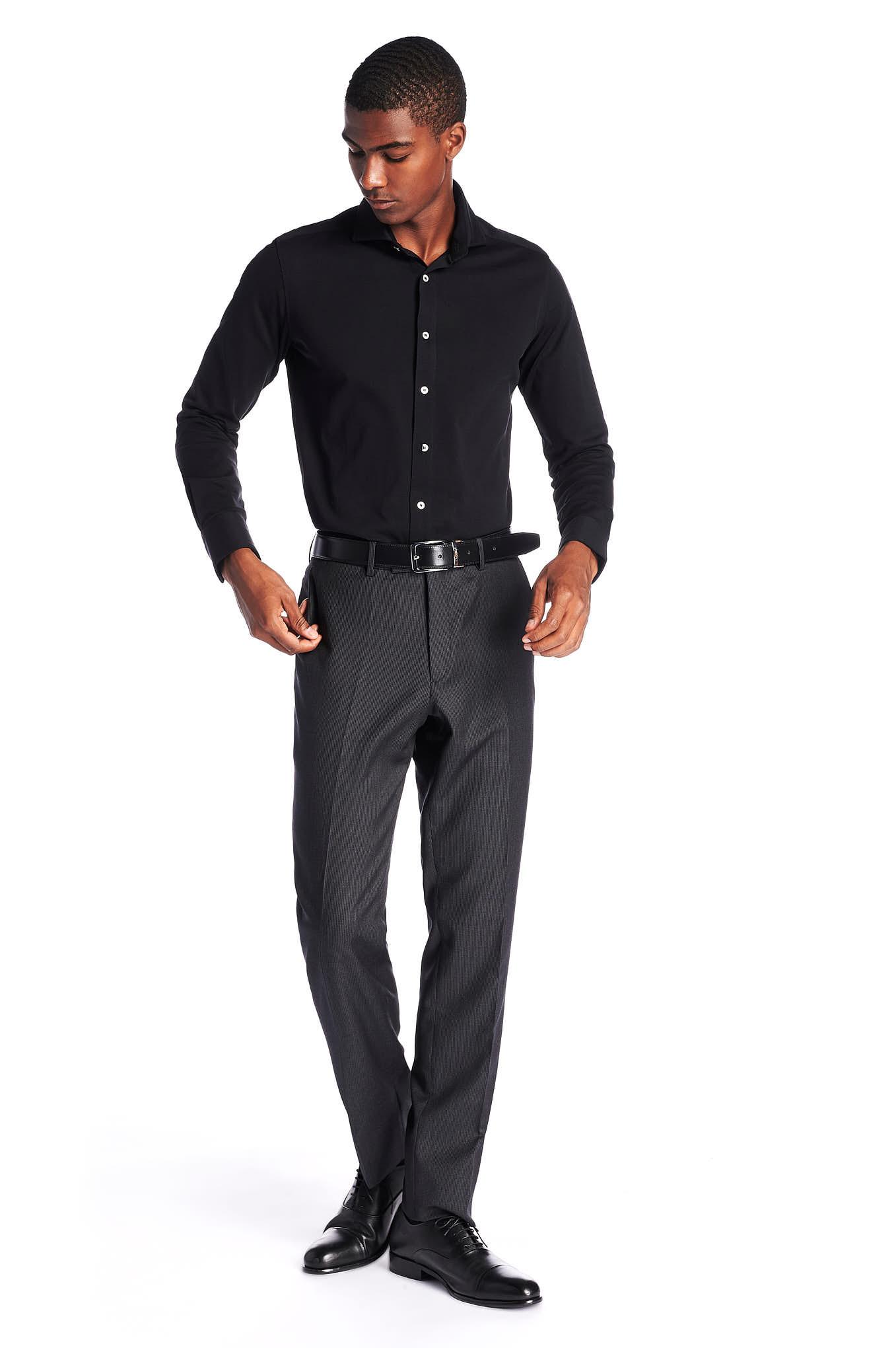 Shirt Black Casual Man