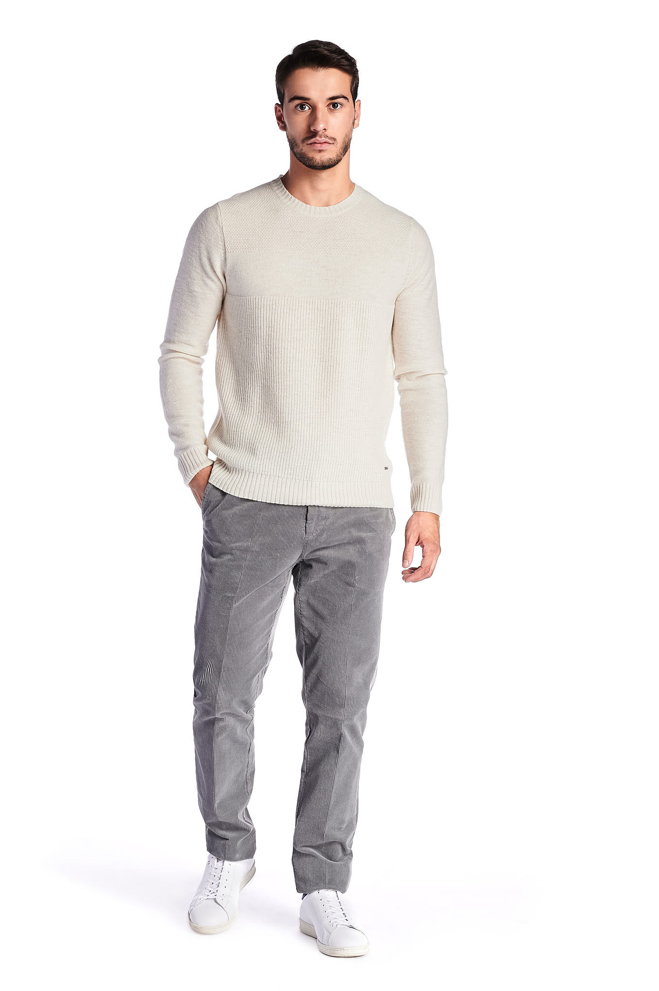 Sweater Ecru Casual Man