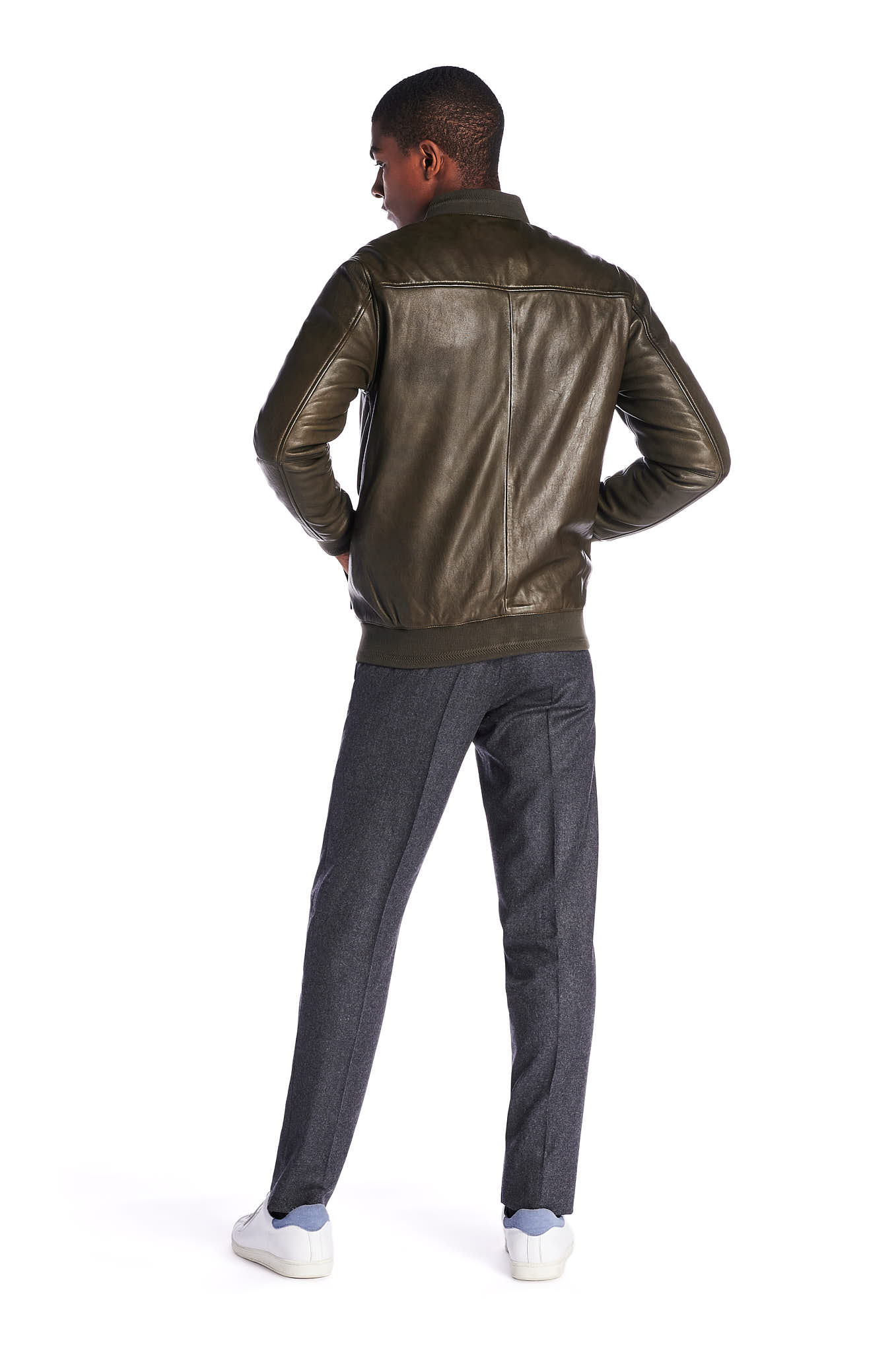 Leather Jacket Dark Green Casual Man