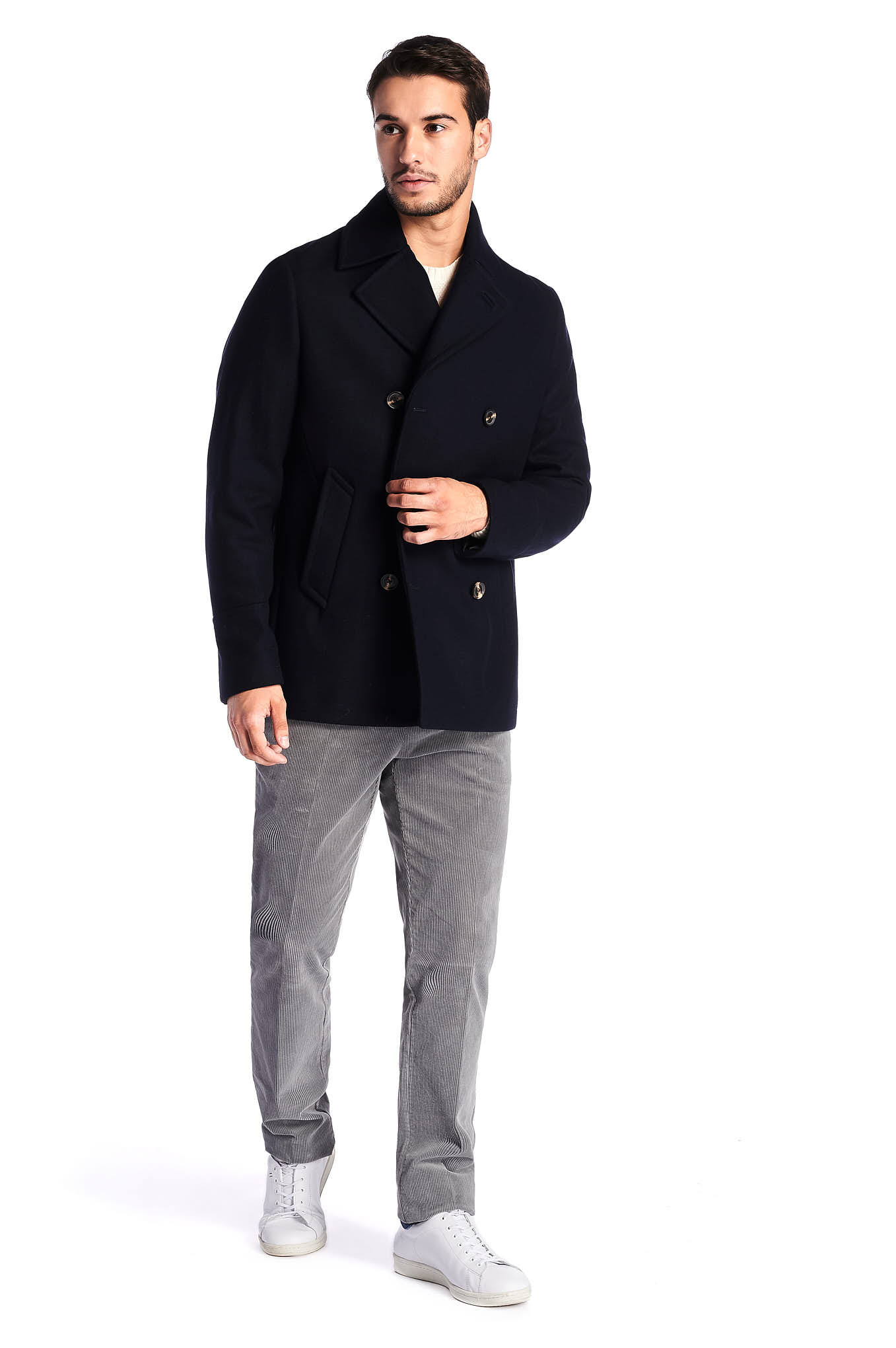 Coat Dark Blue Casual Man