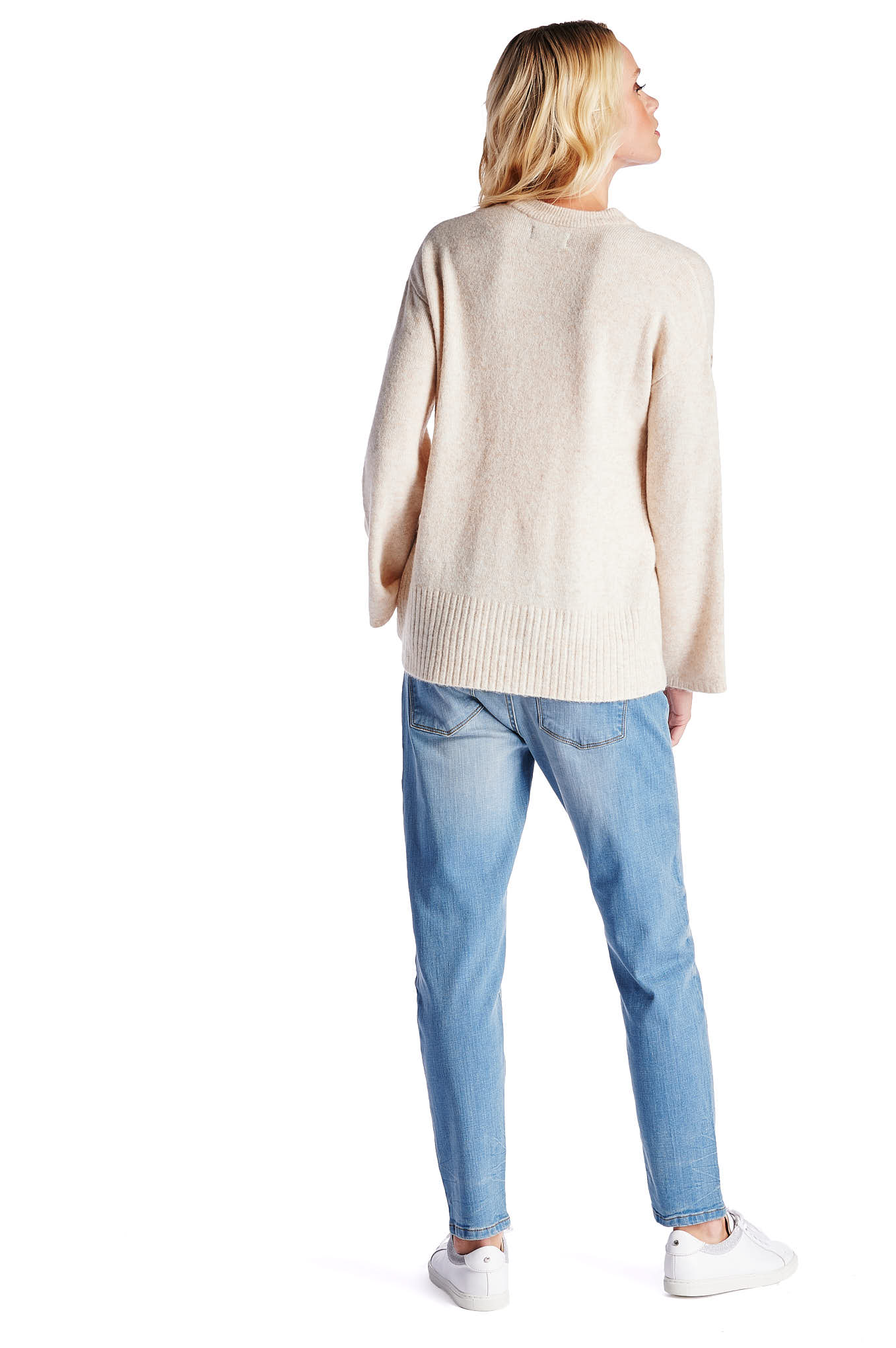 Sweater Light Beige Casual Woman