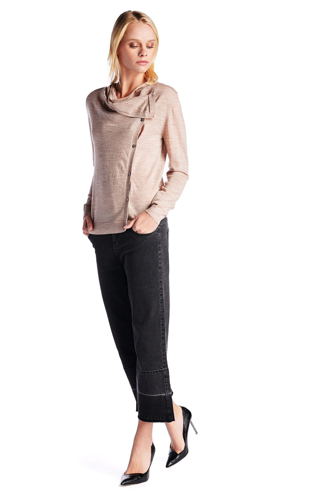 Cardigan Light Beige Casual Woman