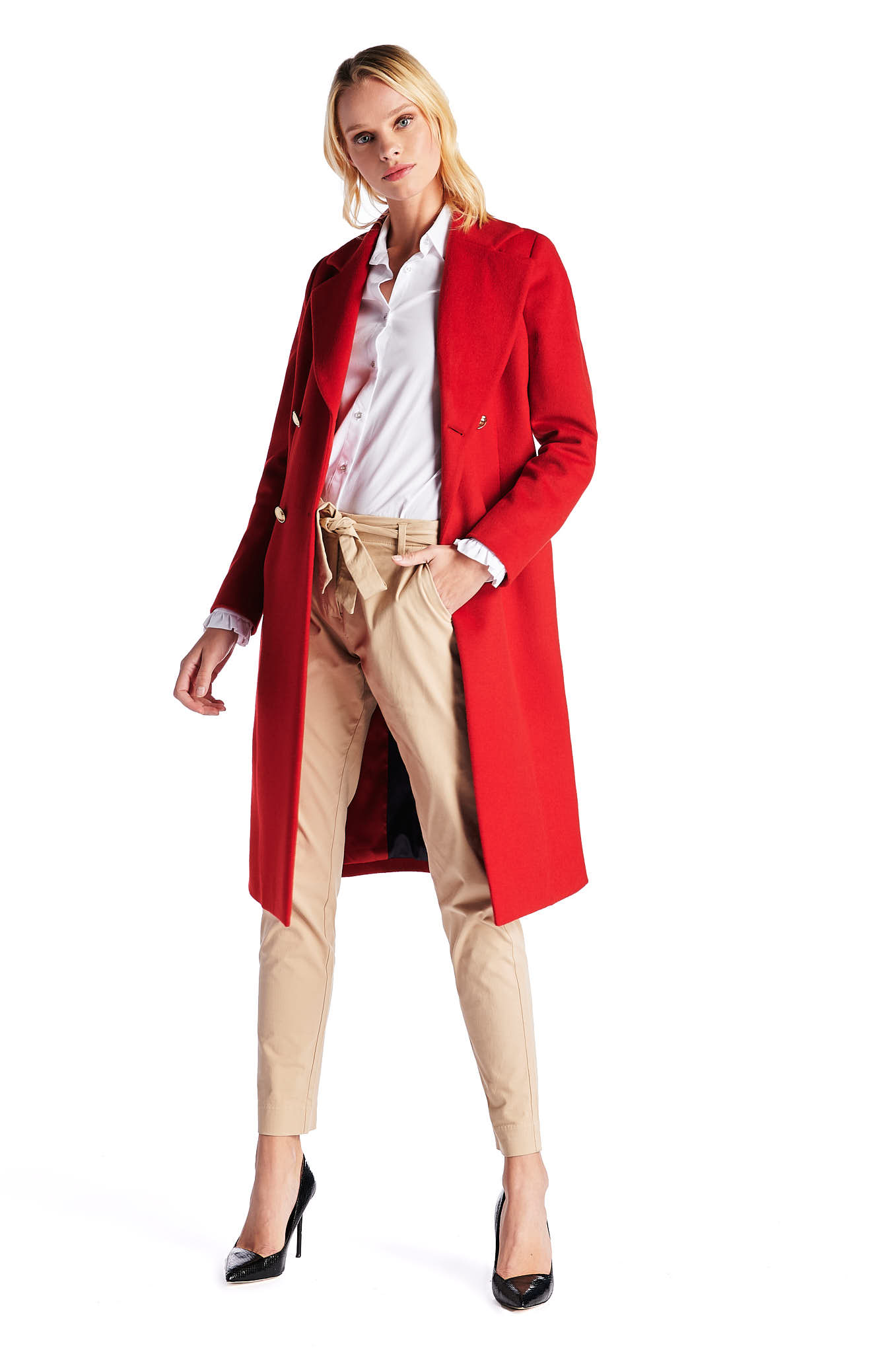 Overcoat Red Casual Woman