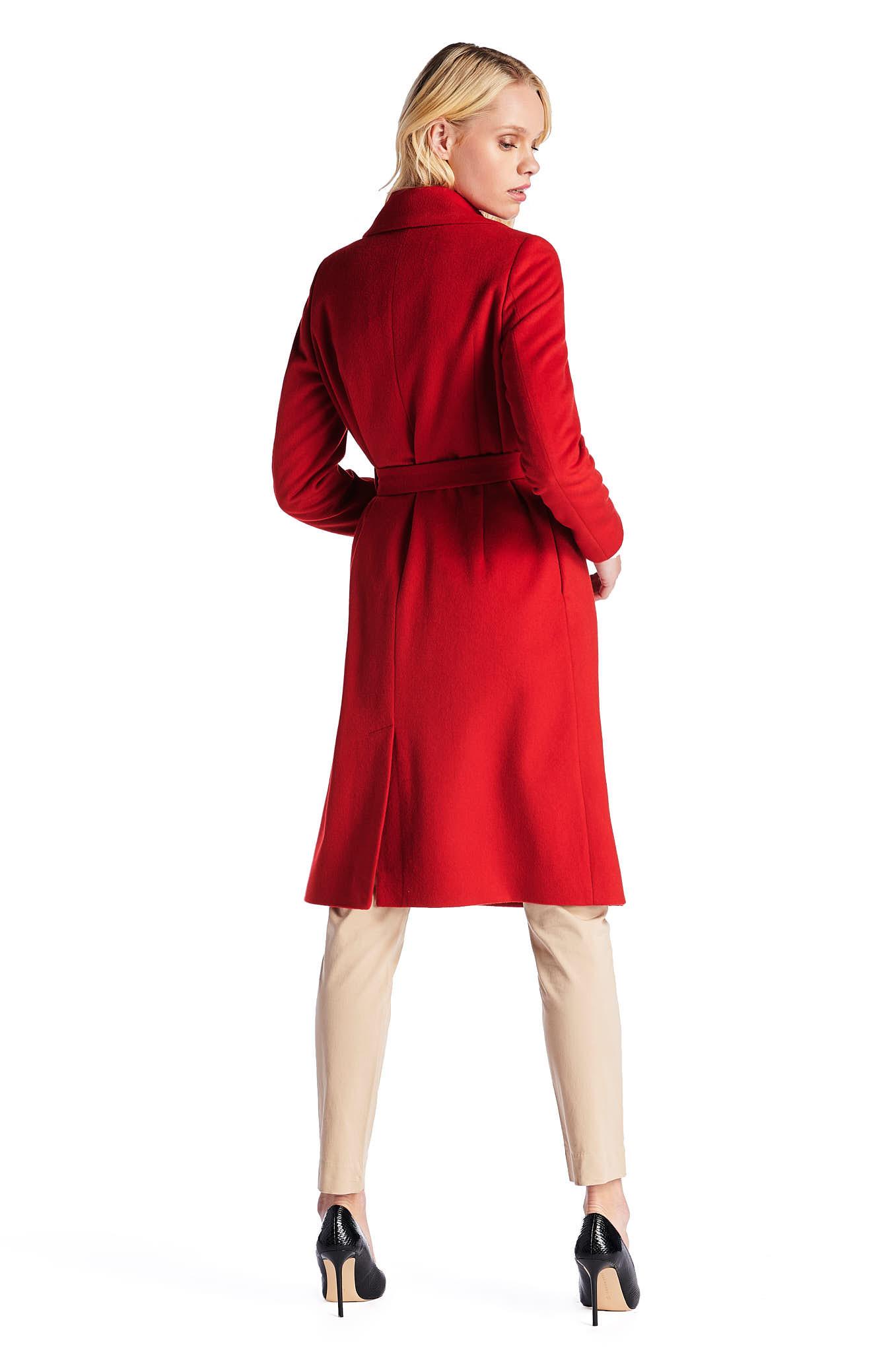 Sobretudo Vermelho Casual Mulher