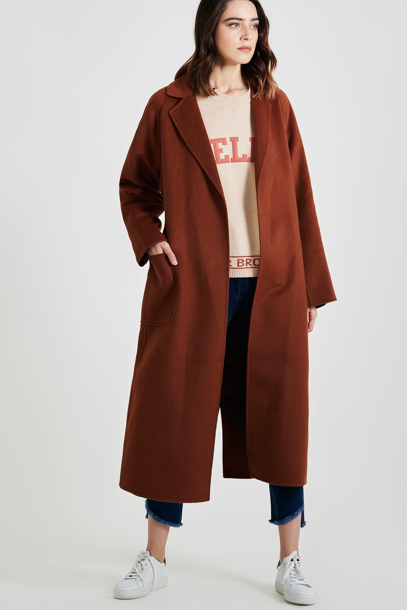 Overcoat Dark Orange Casual Woman