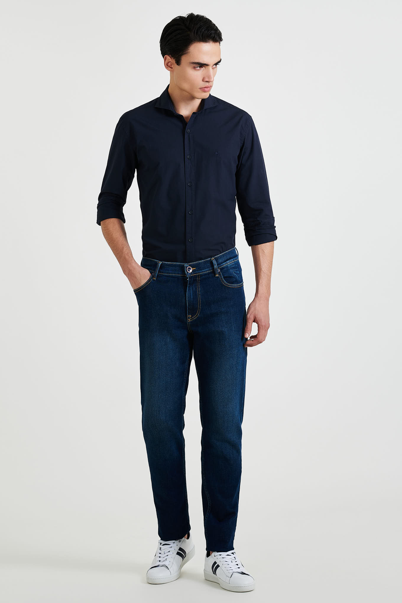 Jeans Dark Blue Casual Man