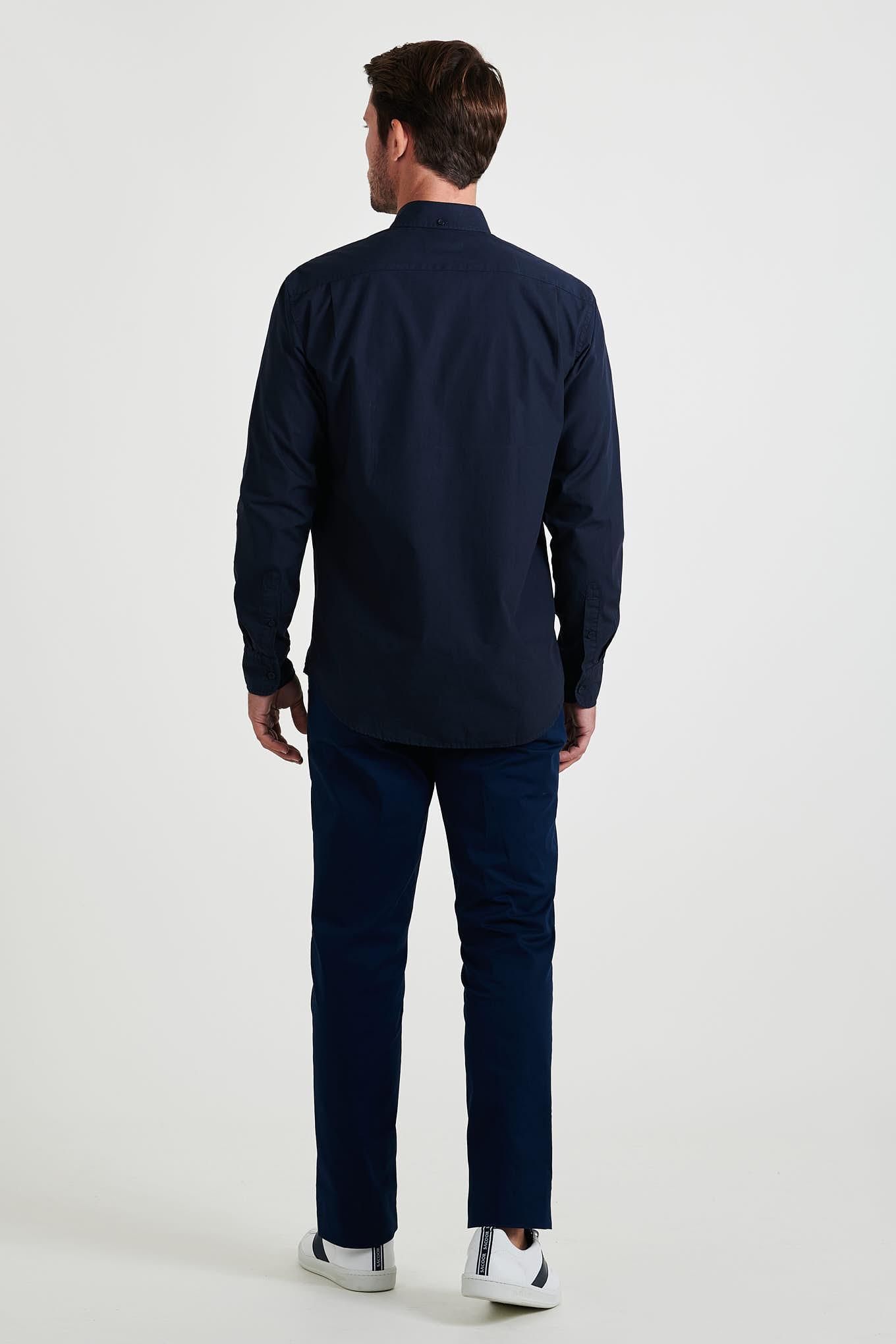 Calças Chino Azul Escuro Casual Homem