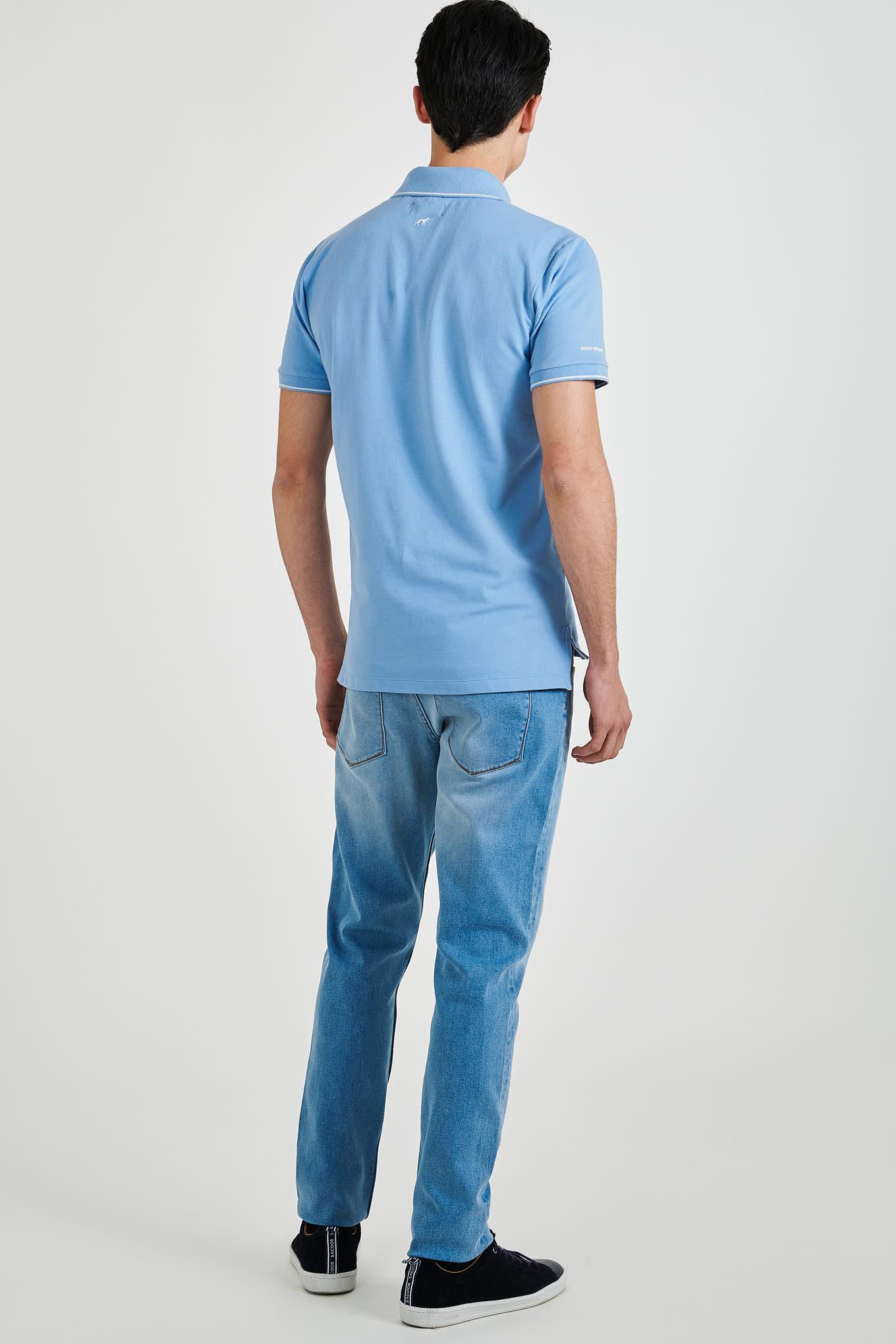 Polo Piquet Azul Médio Casual Homem