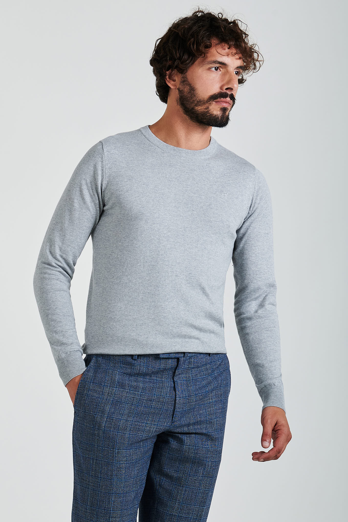 Sweater Light Grey Casual Man