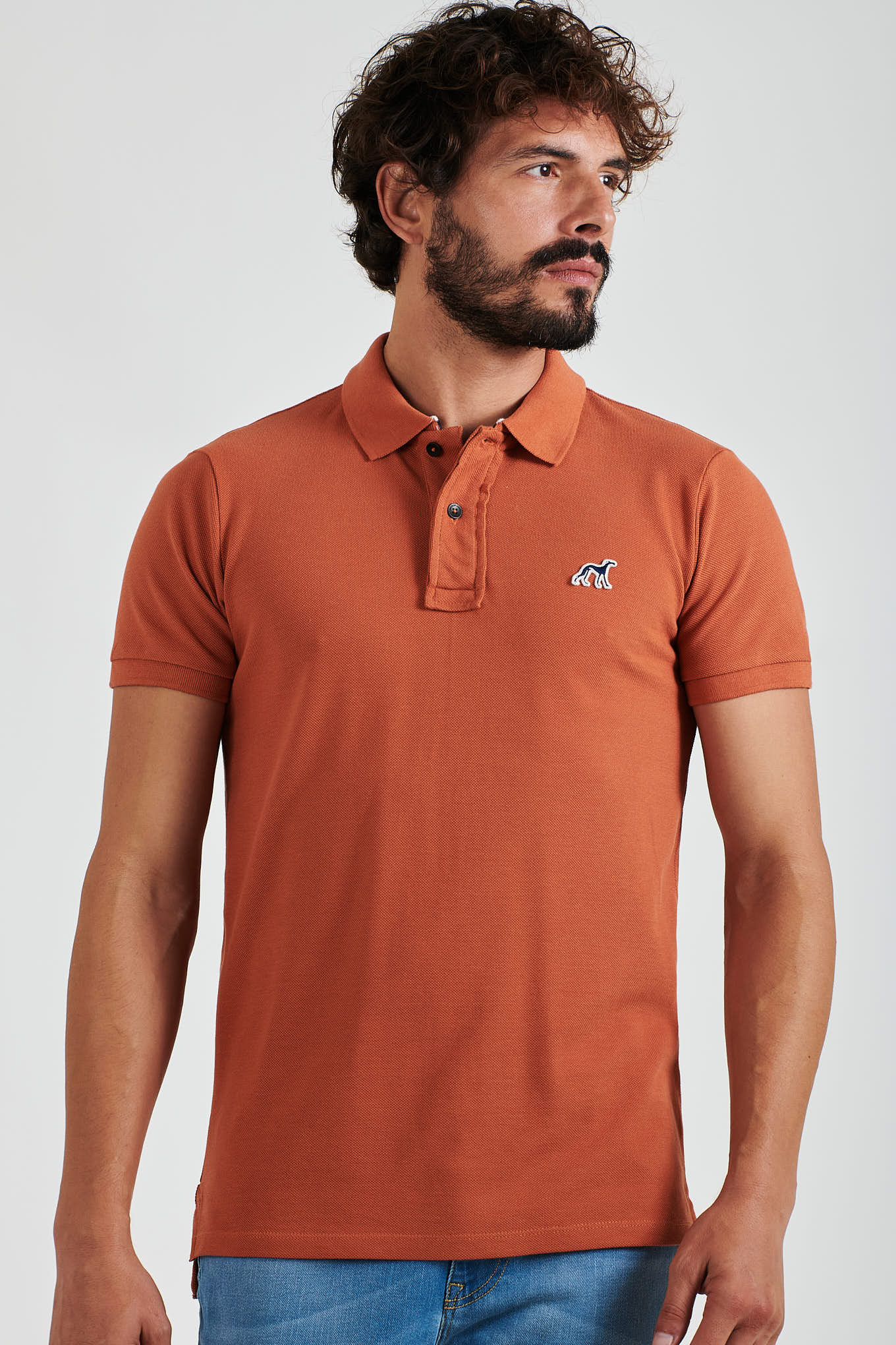 Polo Piquet Dark Orange Casual Man