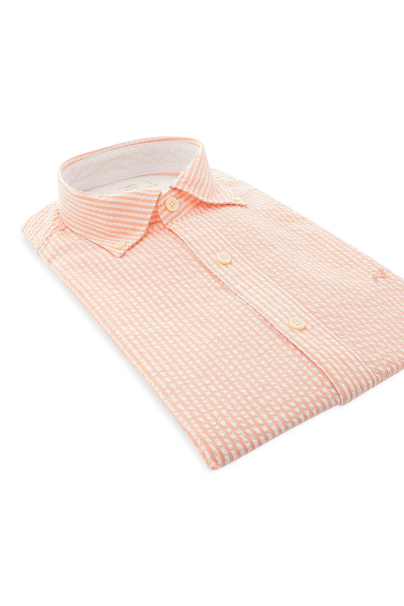 Camisa Laranja Claro Casual Homem