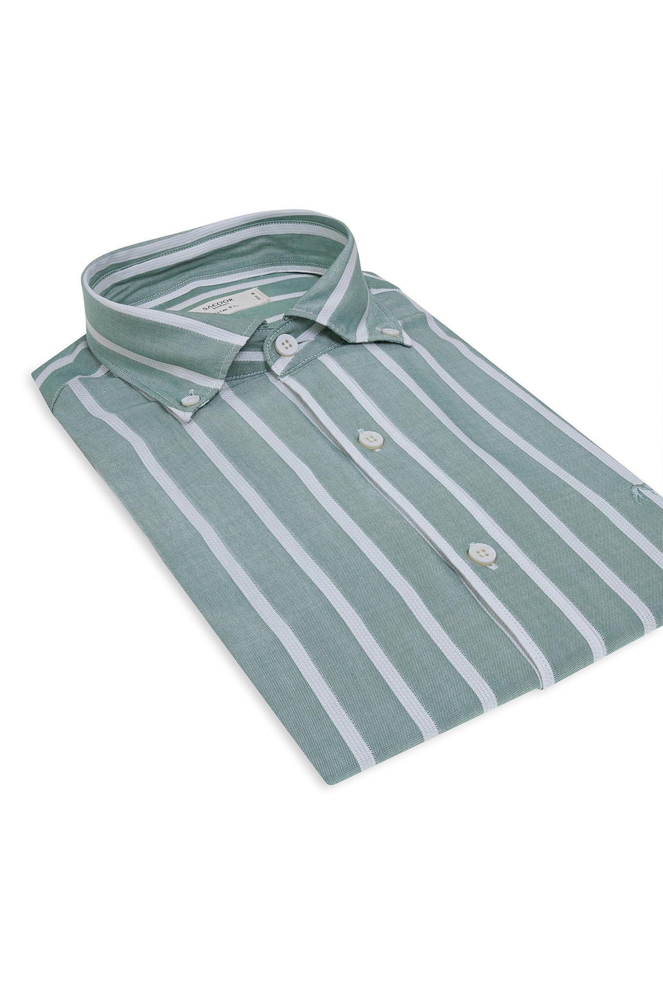 Shirt Green Casual Man