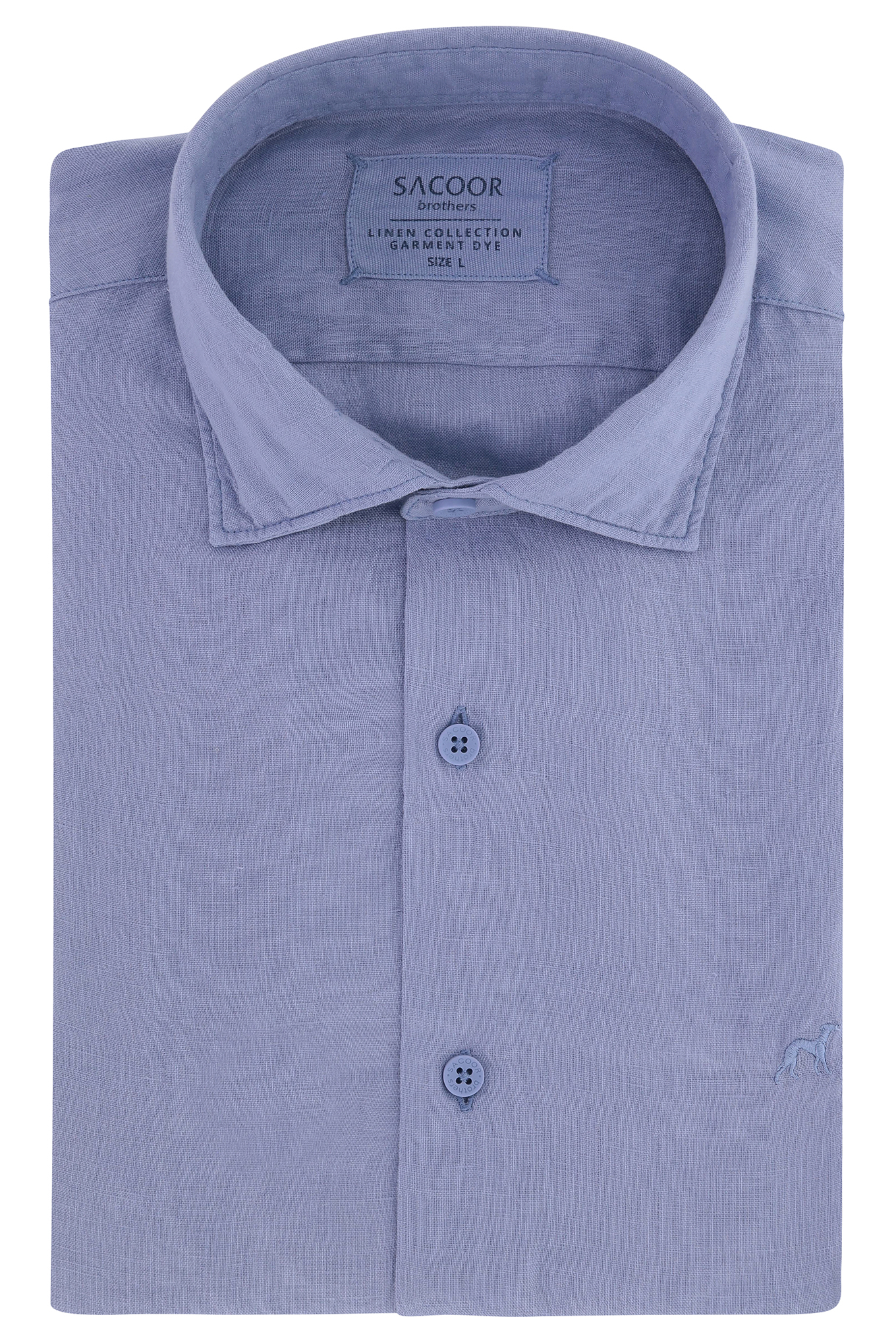 Camisa Azul Casual Homem