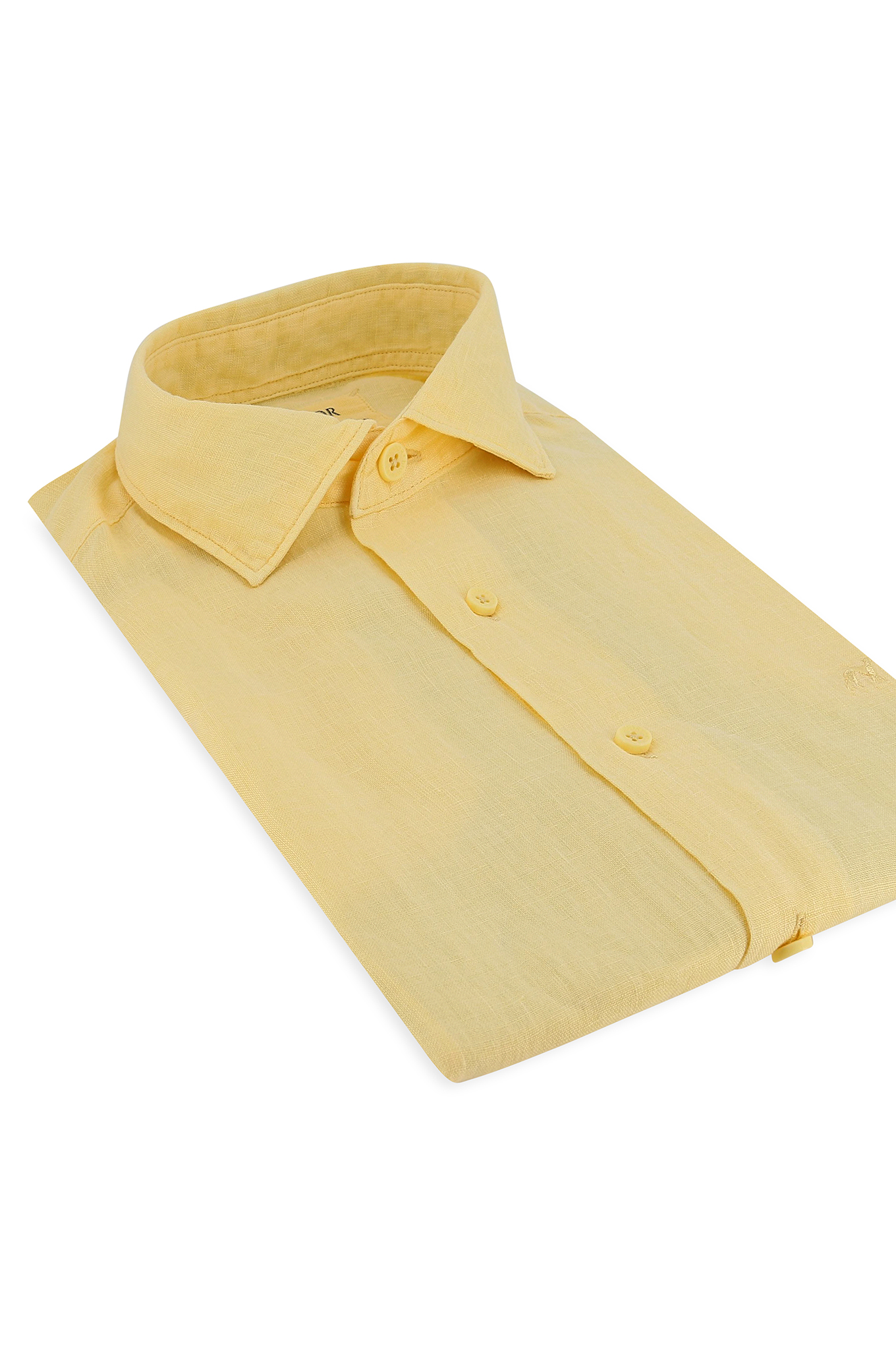 Camisa Amarelo Claro Casual Homem