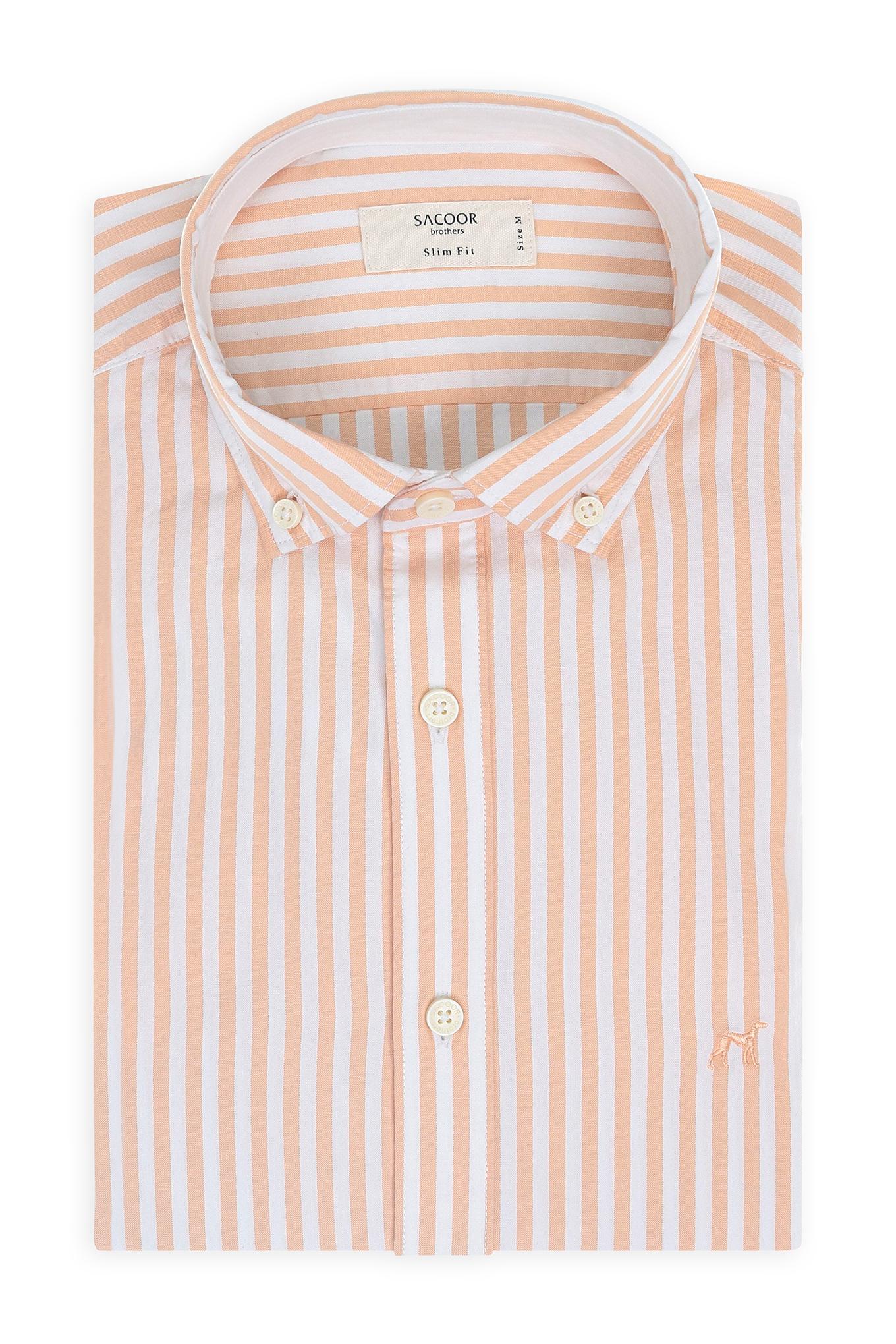Shirt Light Orange Casual Man