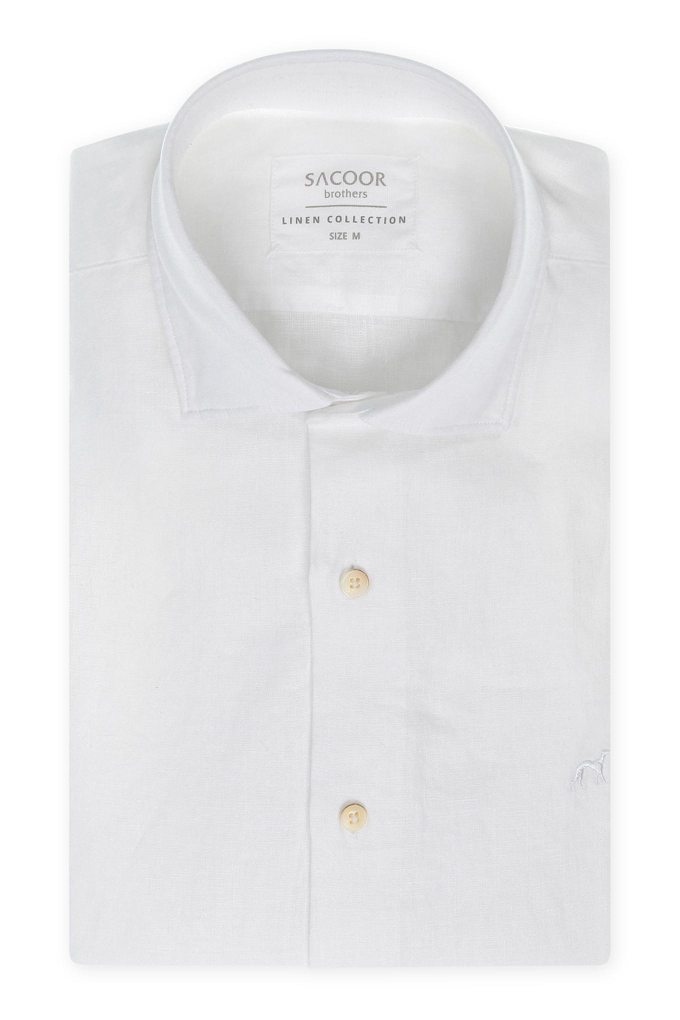 Camisa Branco Casual Homem