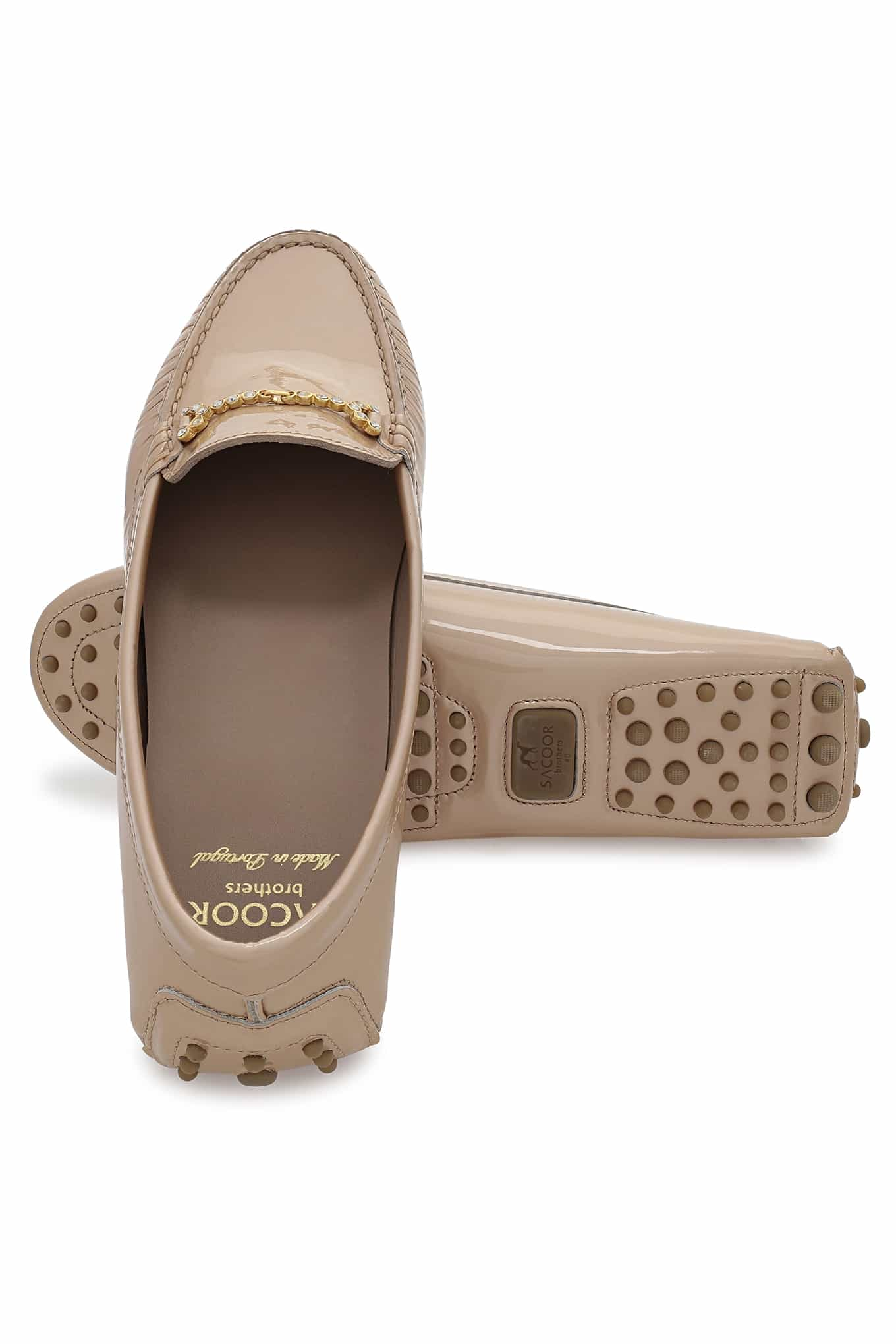 Drivers Beige Casual Mulher
