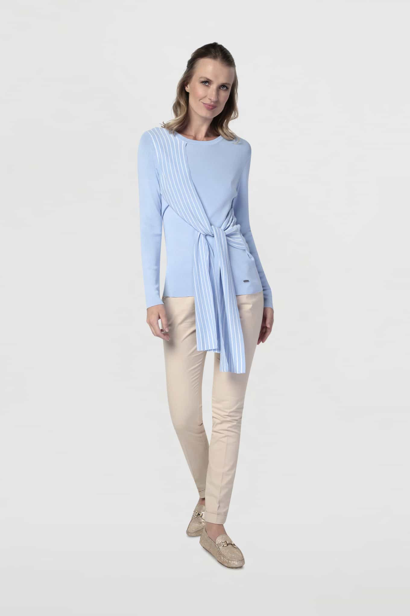 Sweater Light Blue Casual Woman