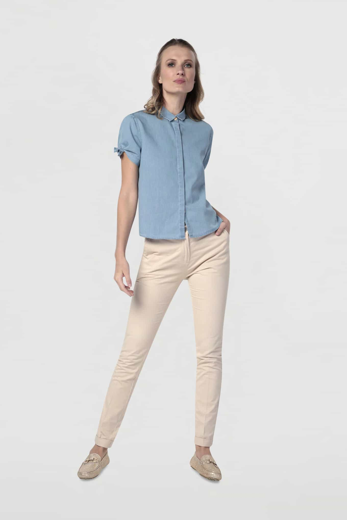 Shirt Blue Casual Woman