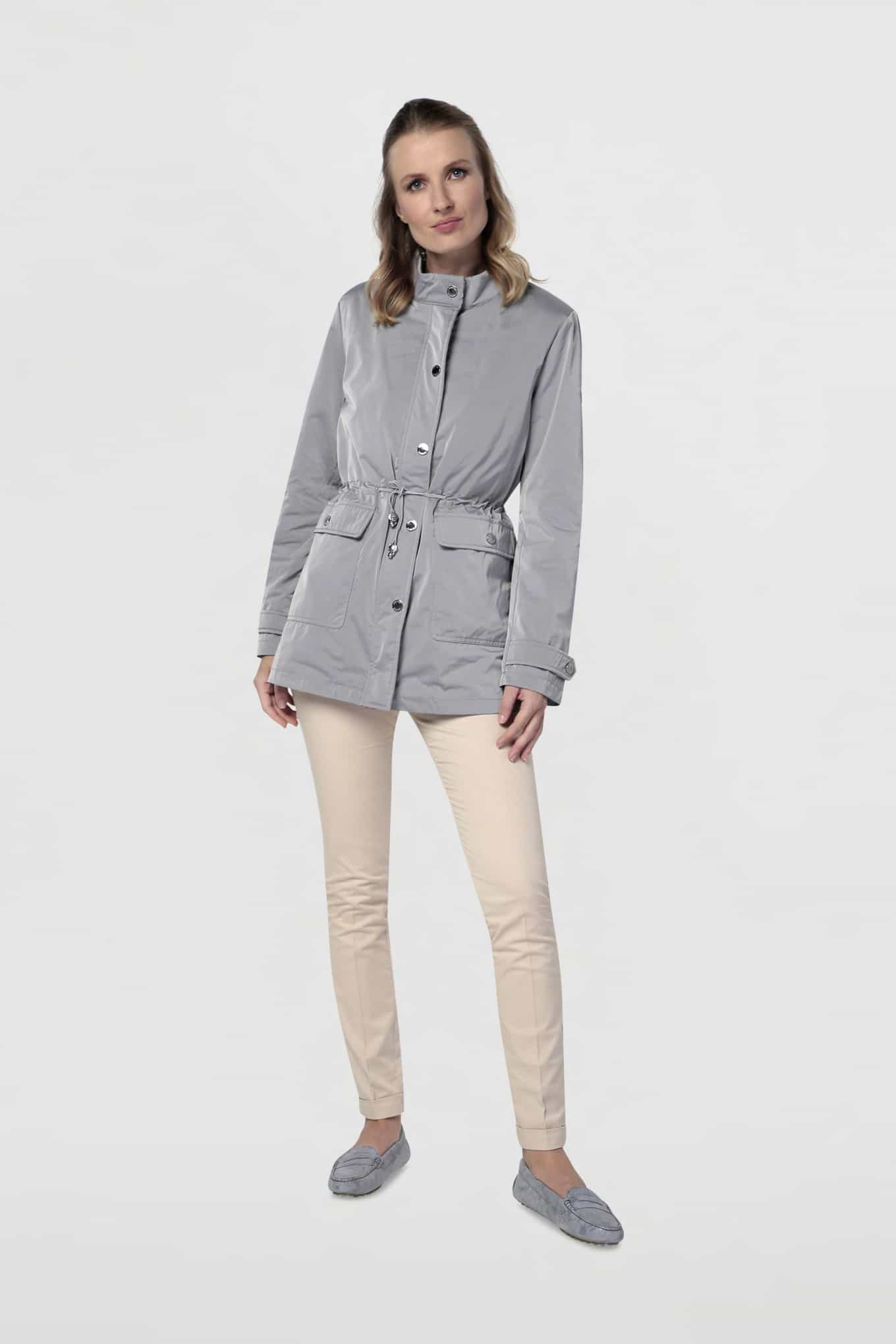 Parka Cinza Casual Mulher
