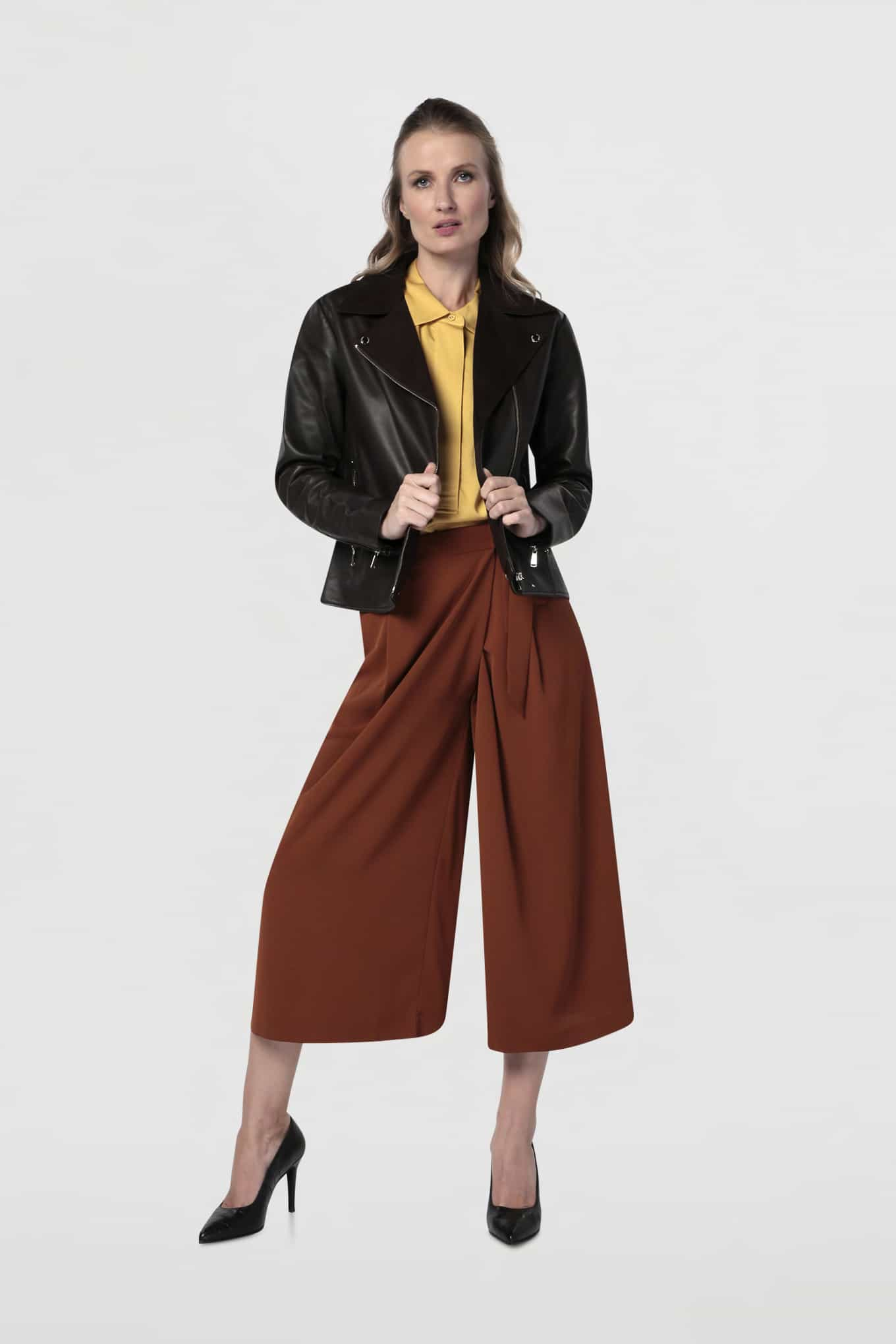Leather Jacket Chocolate Sport Woman