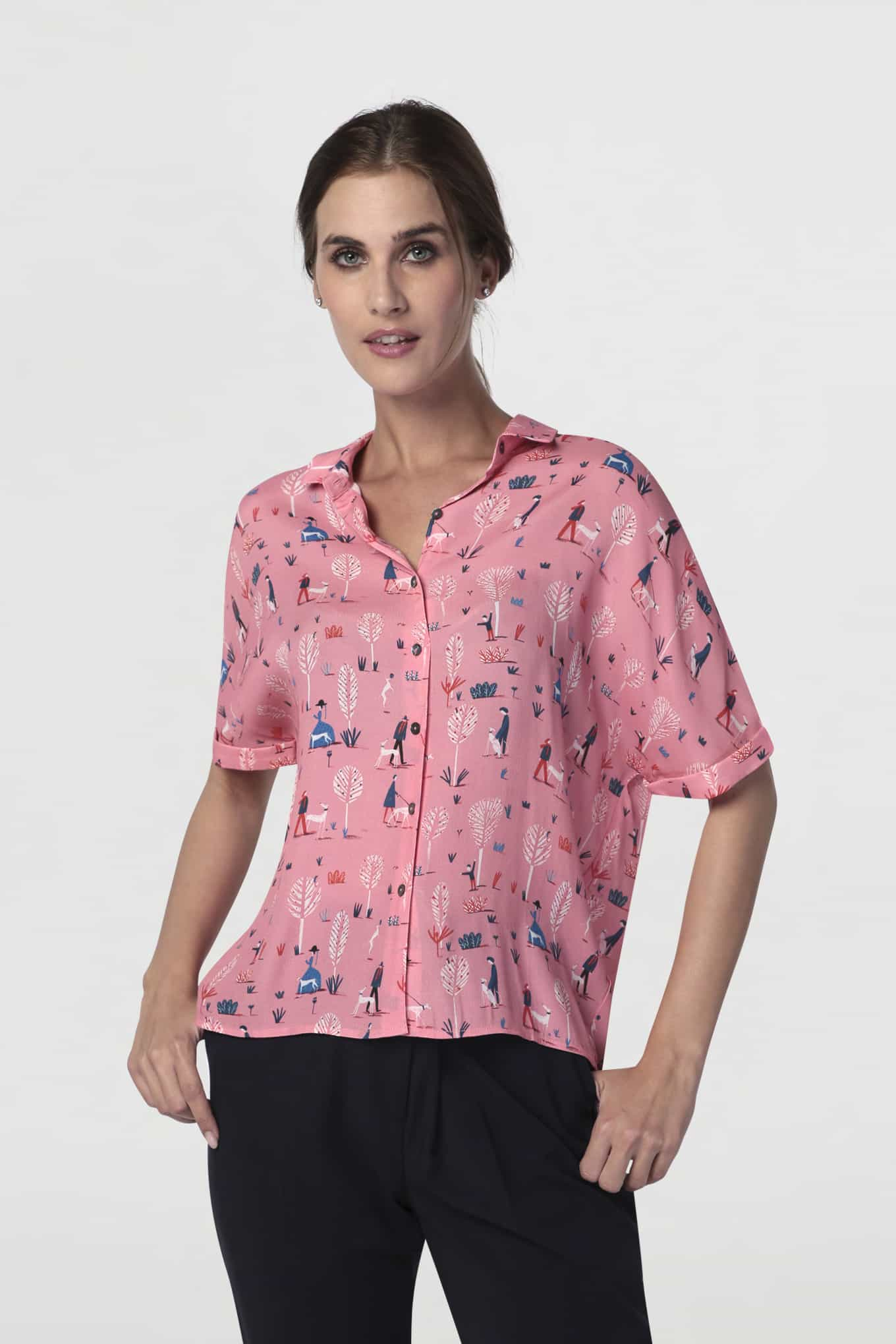 Blusa Rosa Casual Mulher