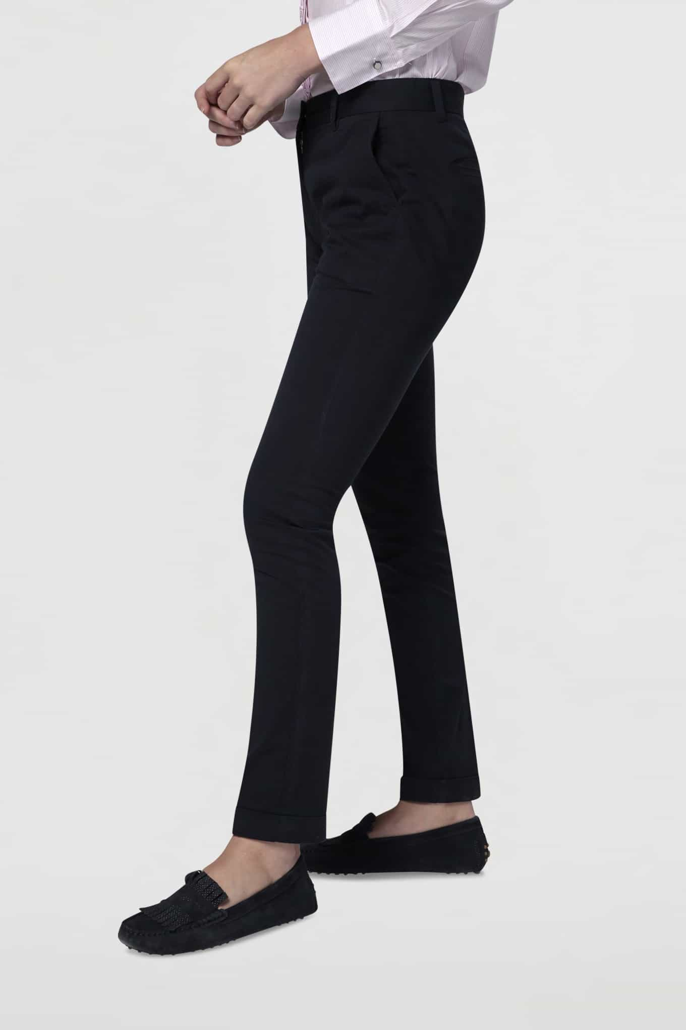 Chino Trousers Dark Blue Casual Woman