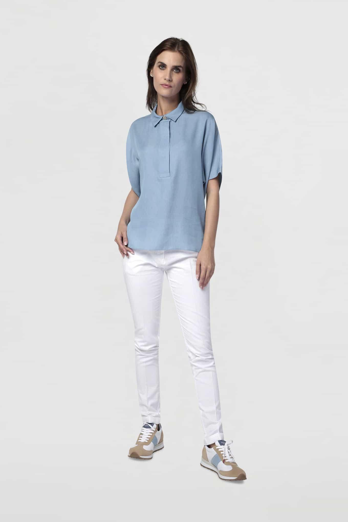 Calças Chino Branco Casual Mulher