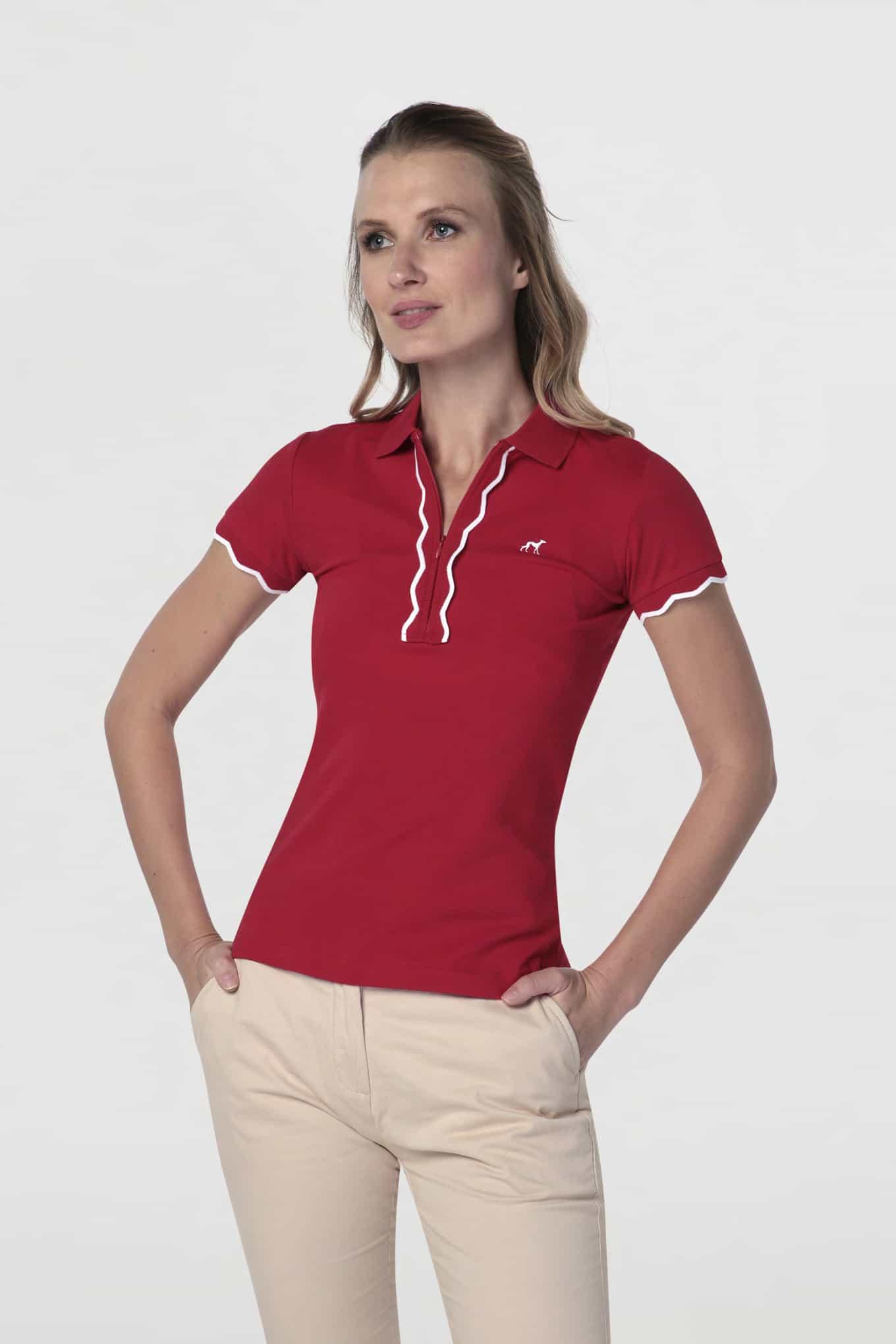 Polo Piquet Vermelho Sport Mulher