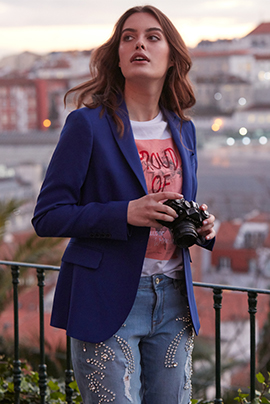 Blazer Royal Blue Classic Woman
