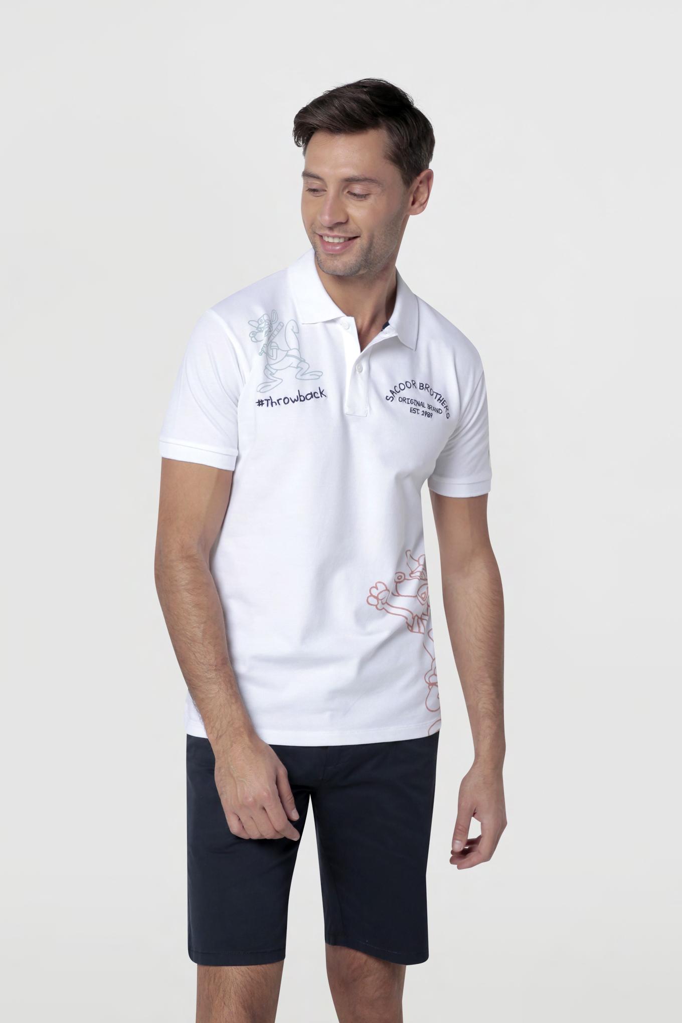 Polo Piquet Branco Casual Homem