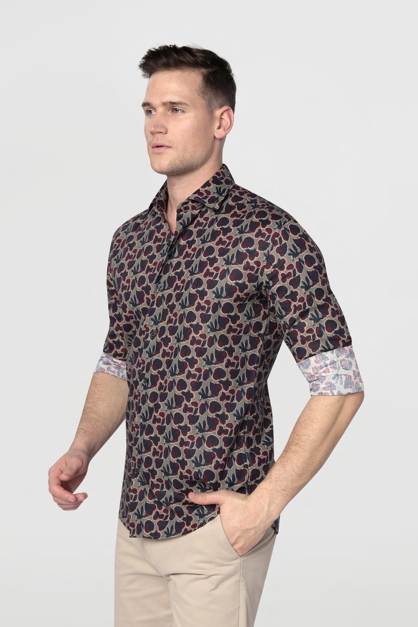 Camisa Khaki Casual Homem