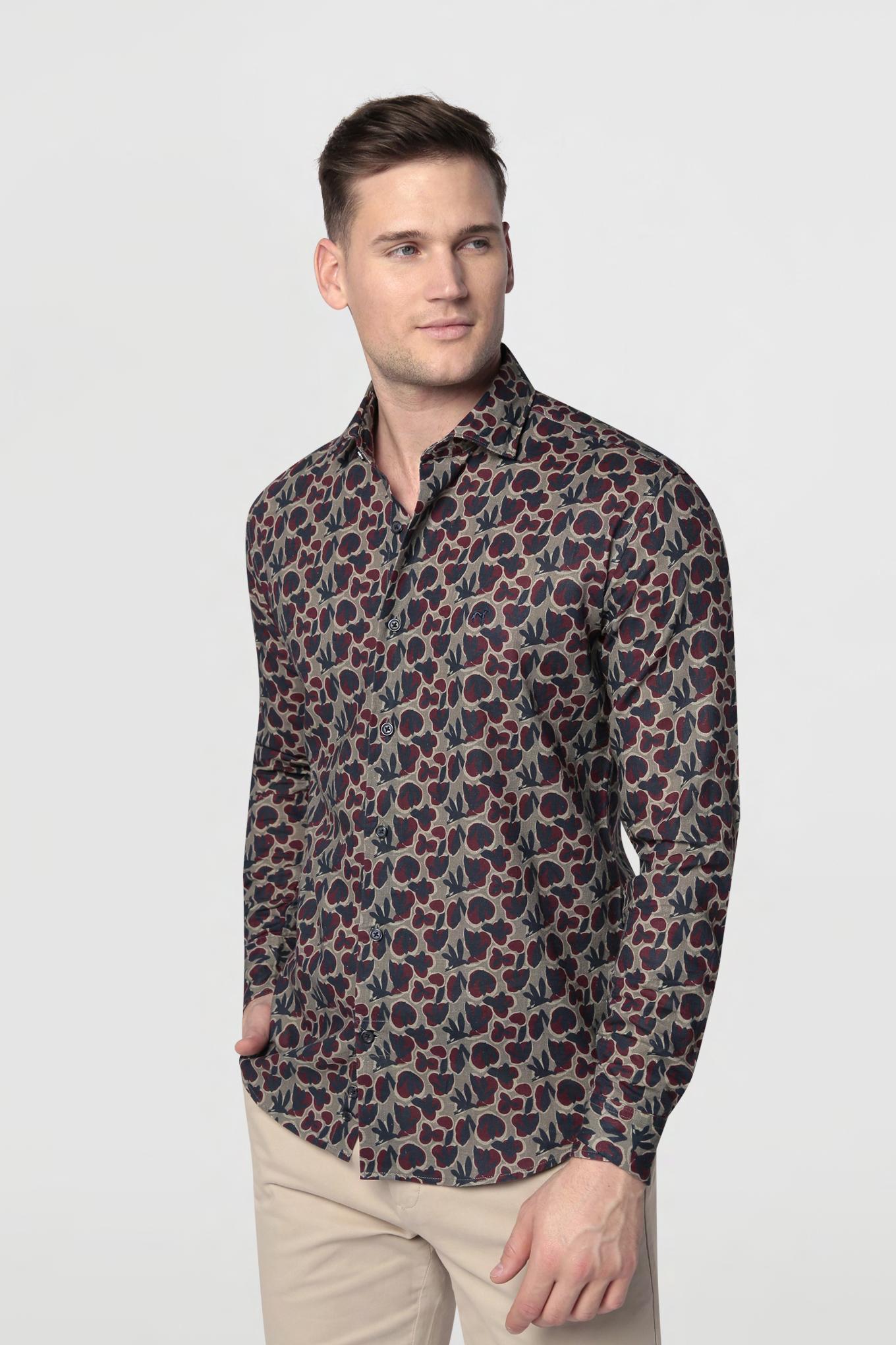 Shirt Khaki Casual Man