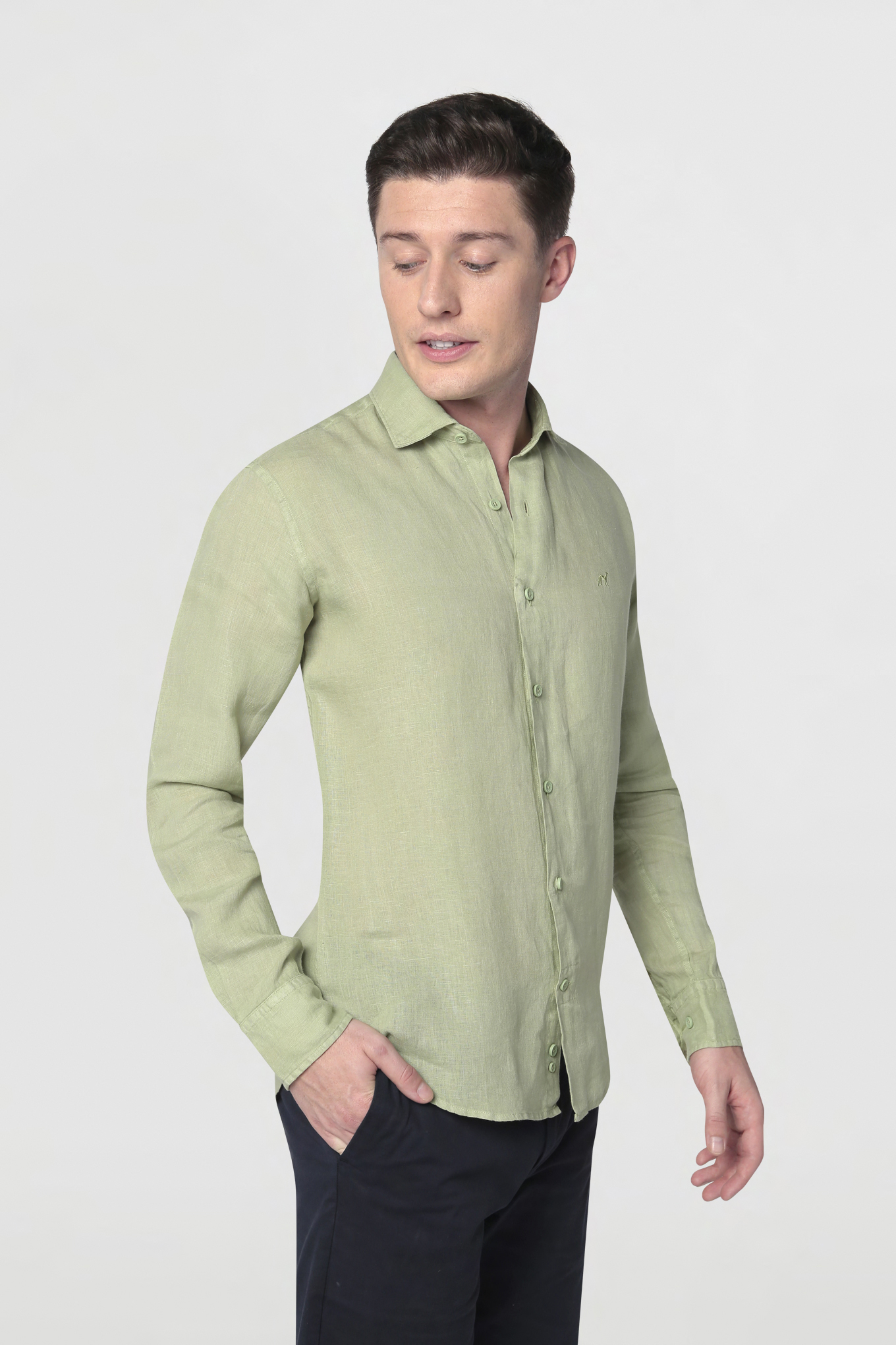 Shirt Light Green Casual Man