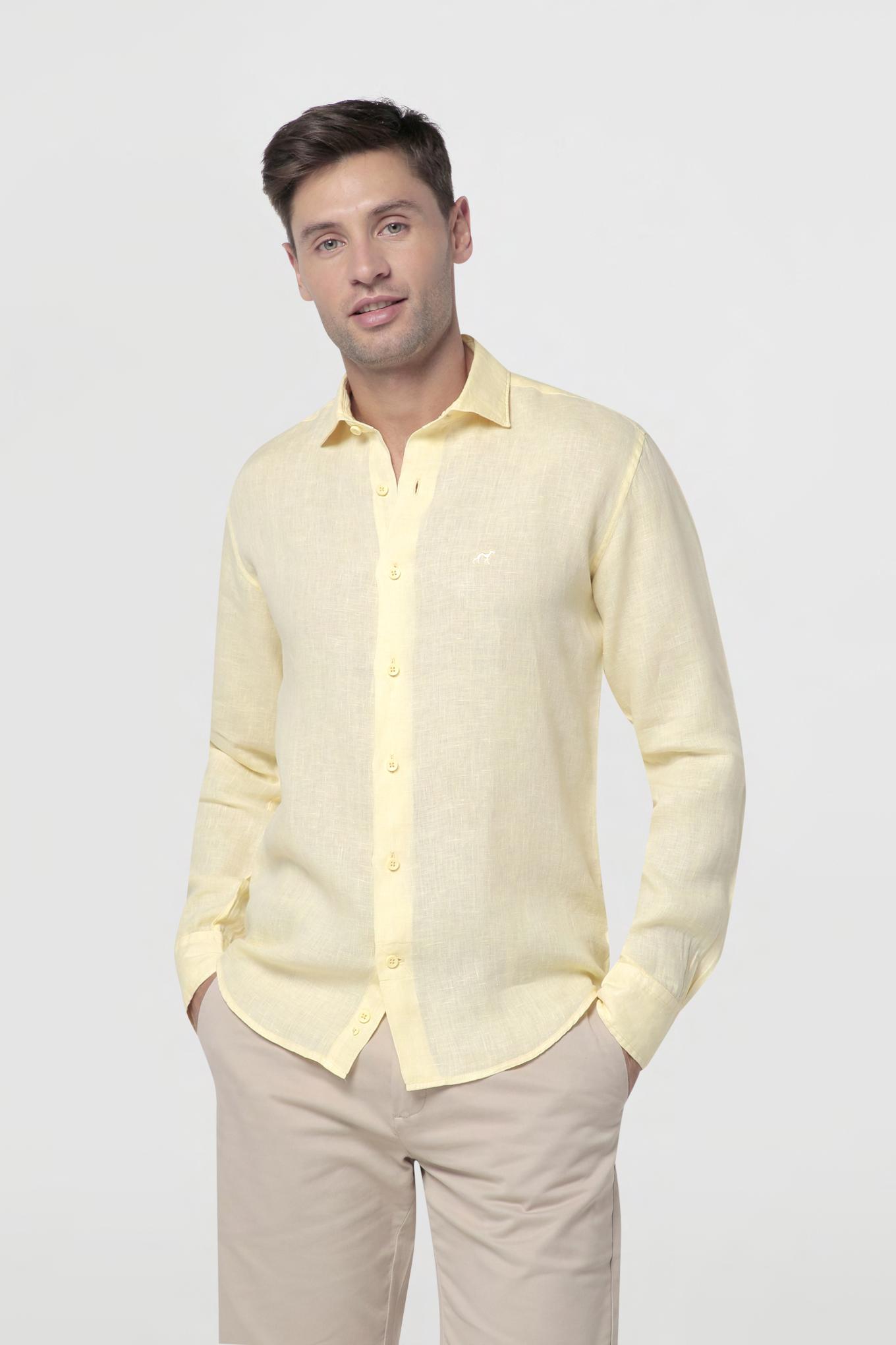 Shirt Light Yellow Casual Man